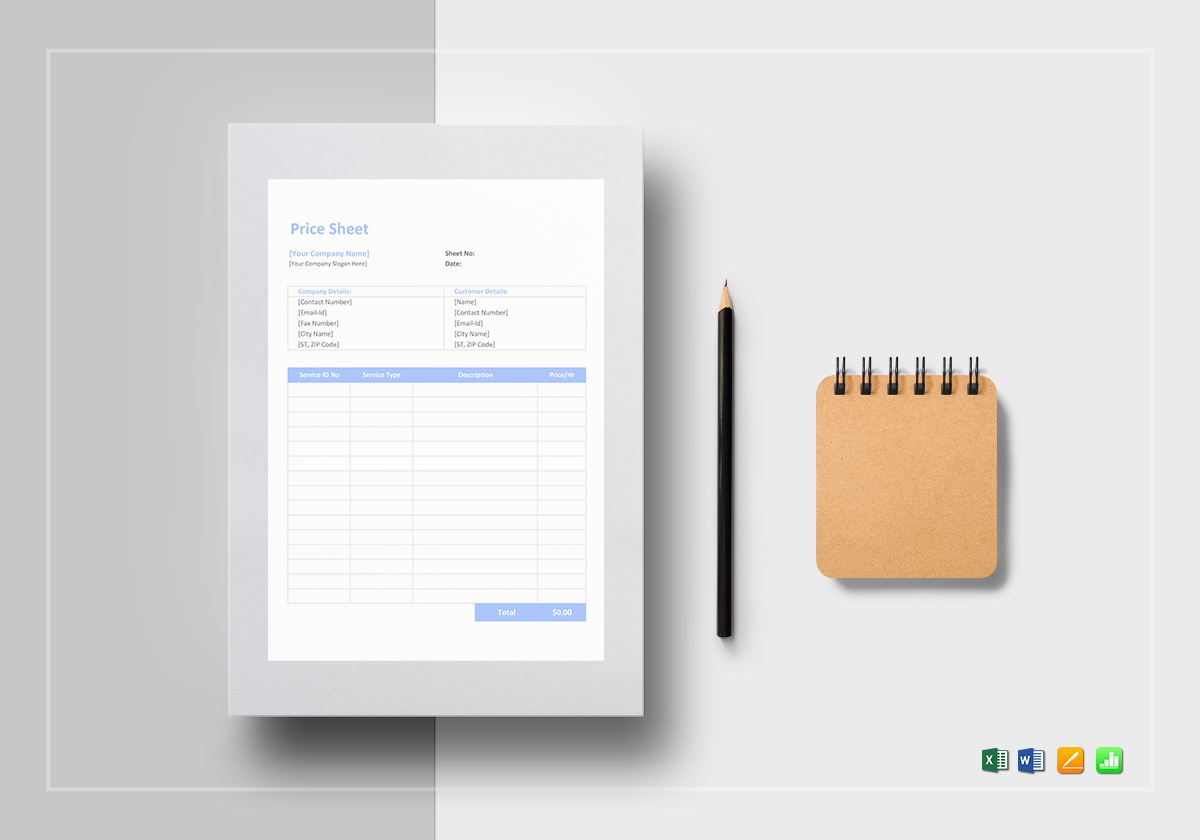 product price sheet template