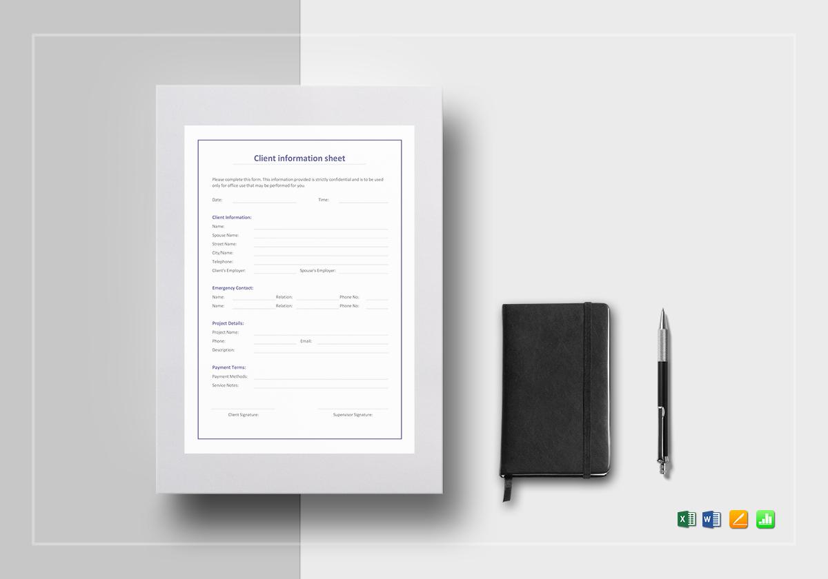 Client Information Sheet Template