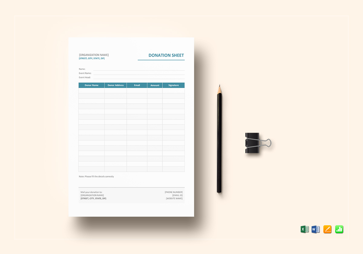 Donation Sheet Template in Word, Excel, Apple Pages, Numbers