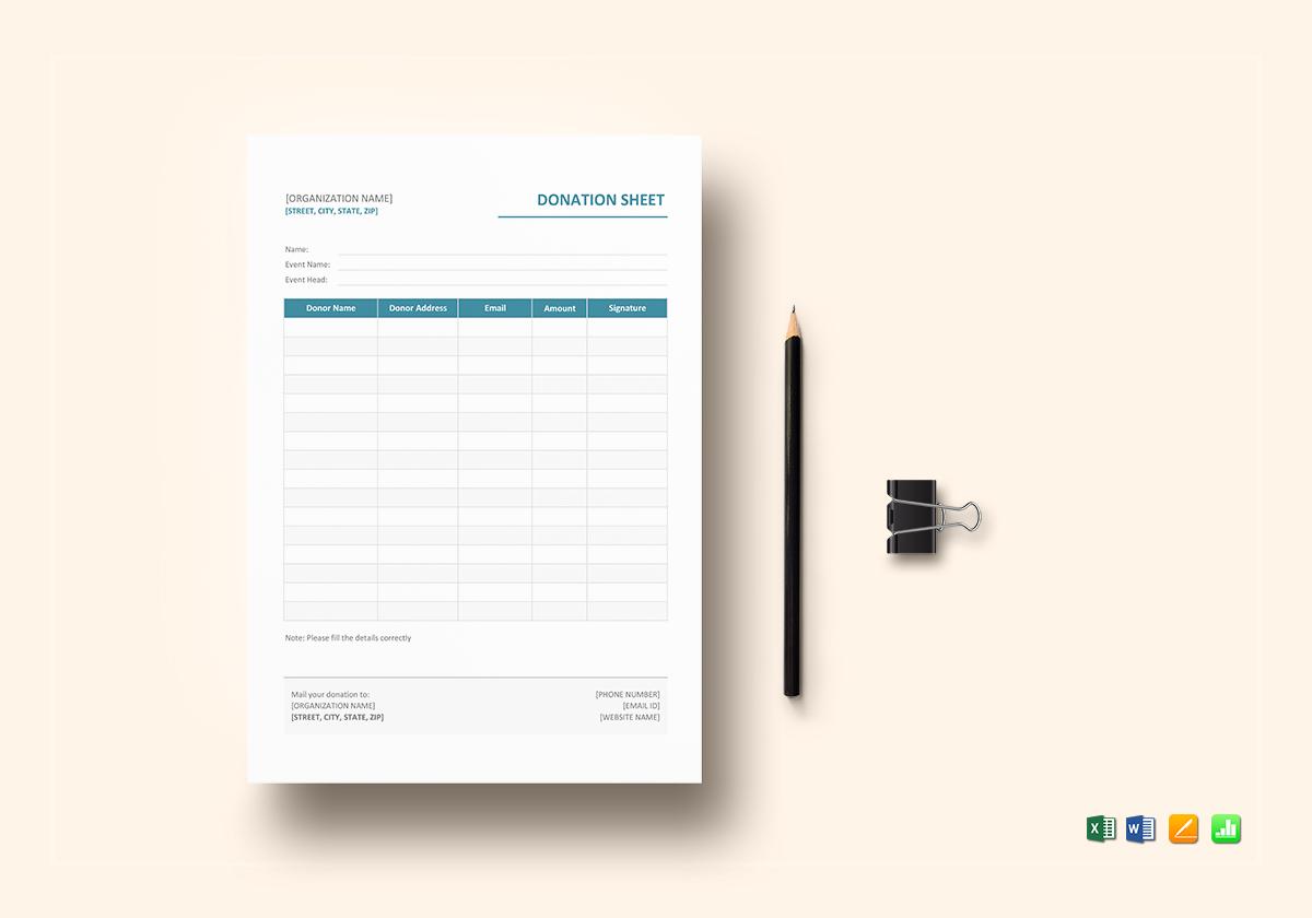 donation sheet template