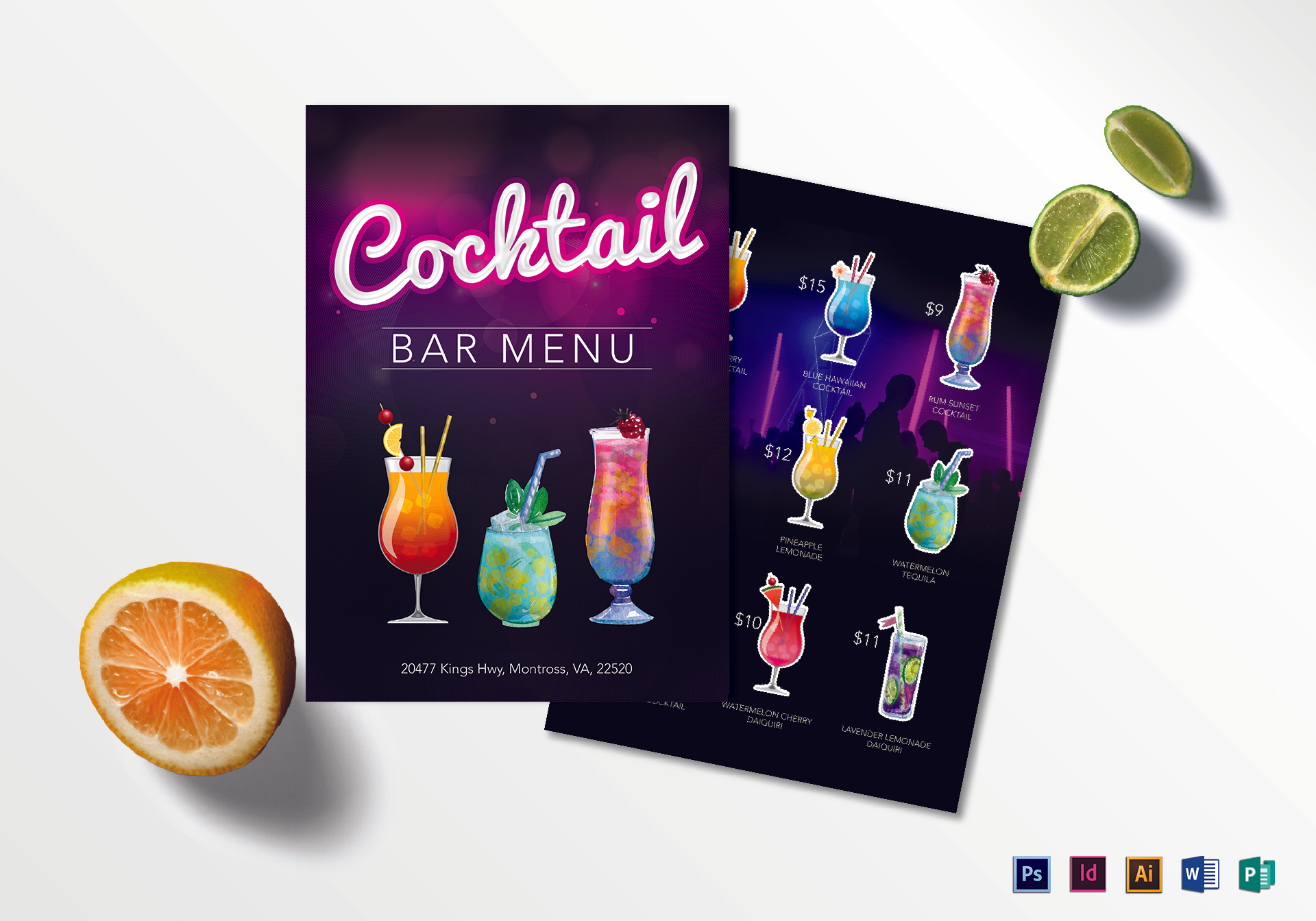 Cocktail Bar Menu Design Template