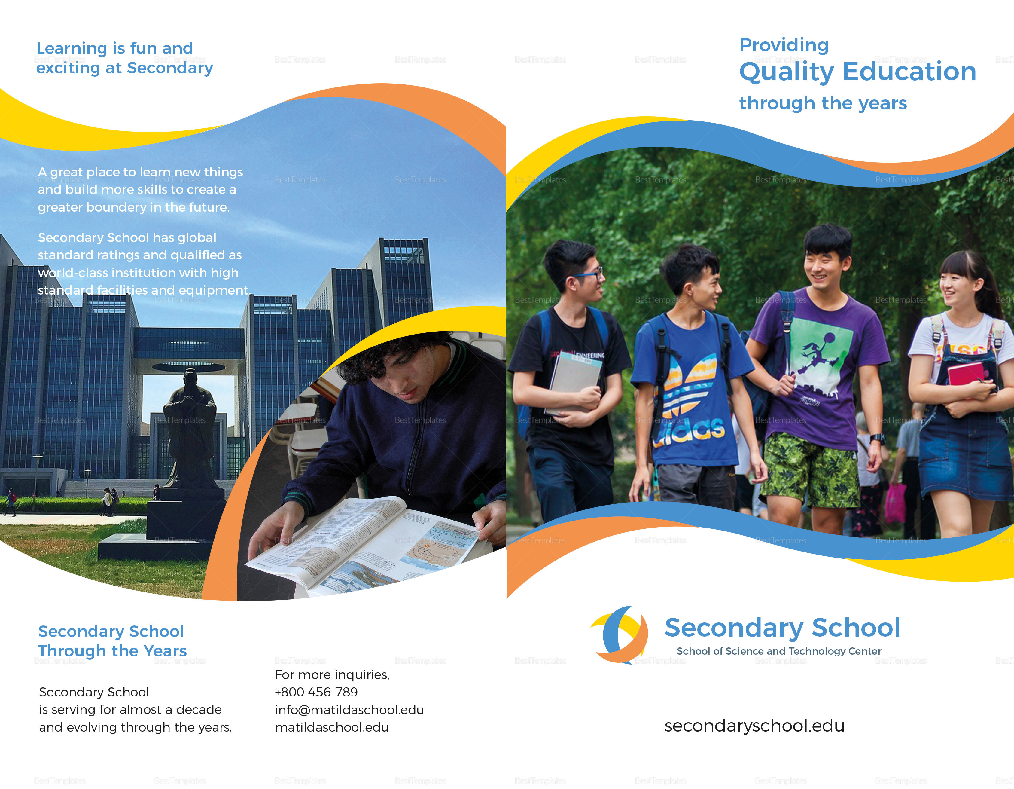 School Education Bifold Brochure Design Template In PSD Word - High school brochure template