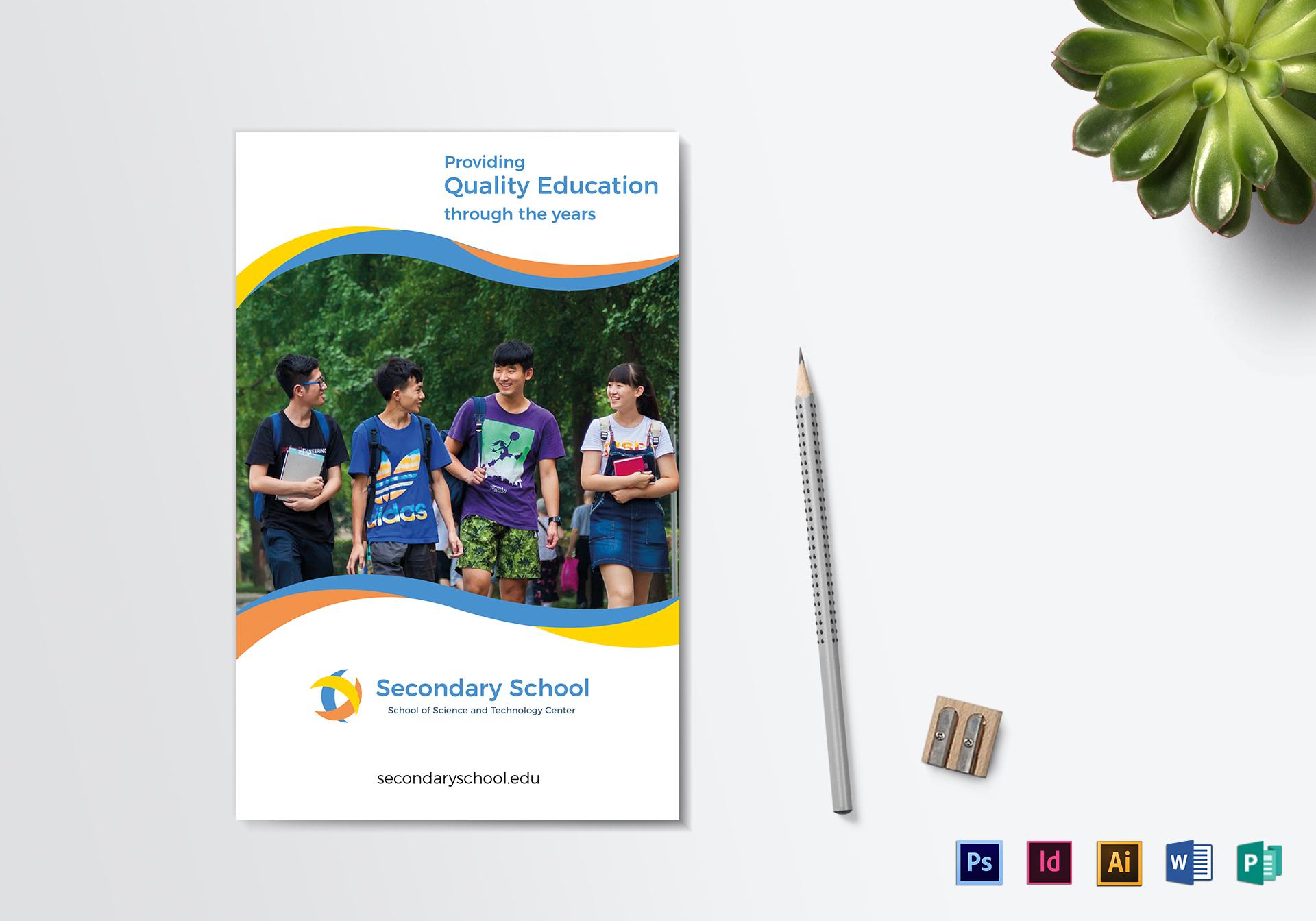 school education bi fold brochure design template in psd word