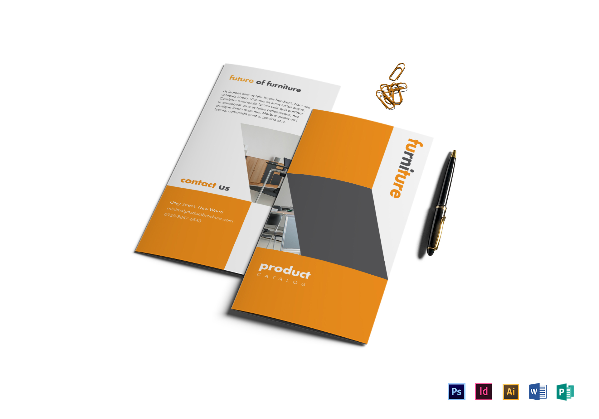 Elegant minimal product brochure design template in psd for Product brochure template