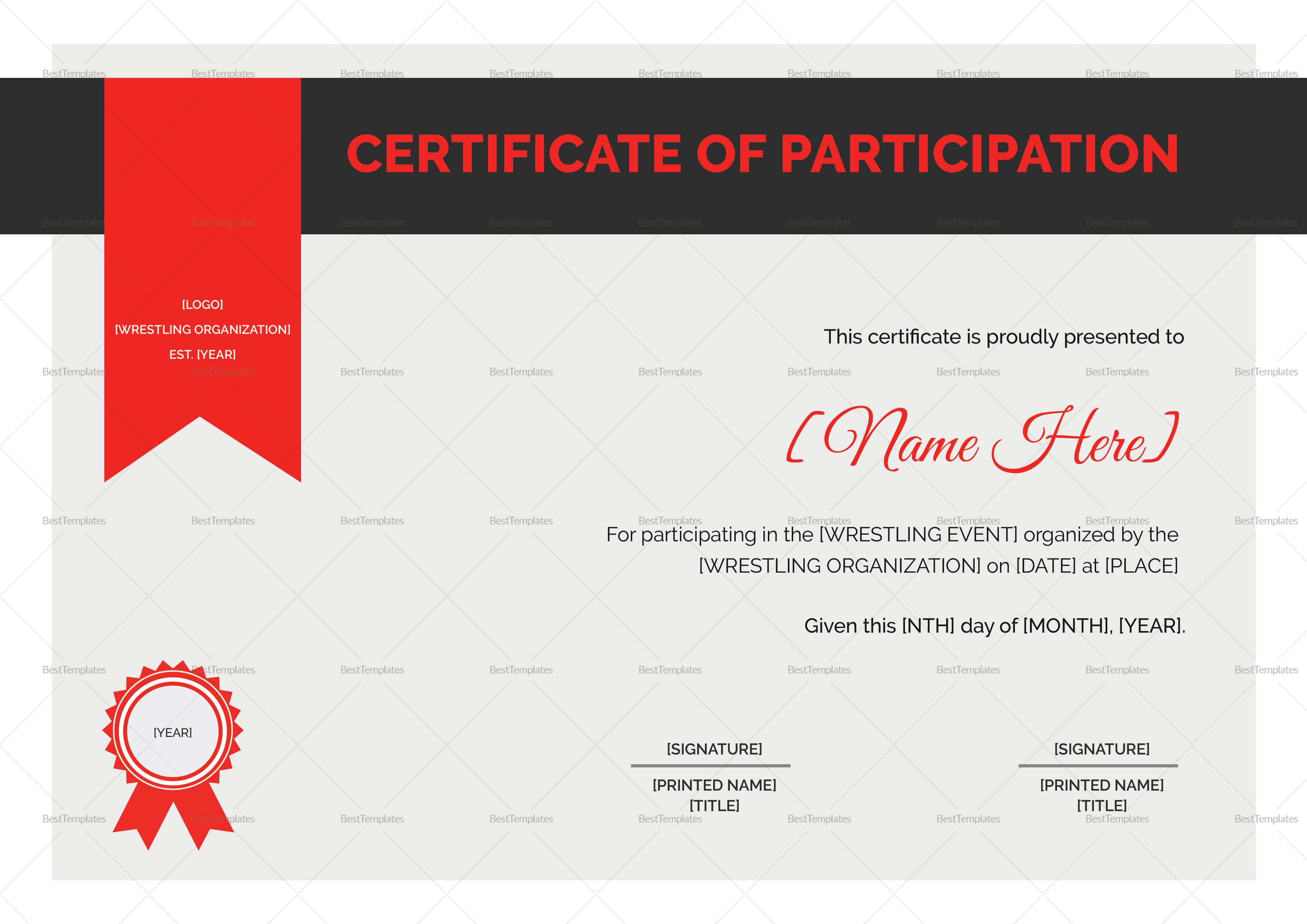 Wrestling Certificate Design Template