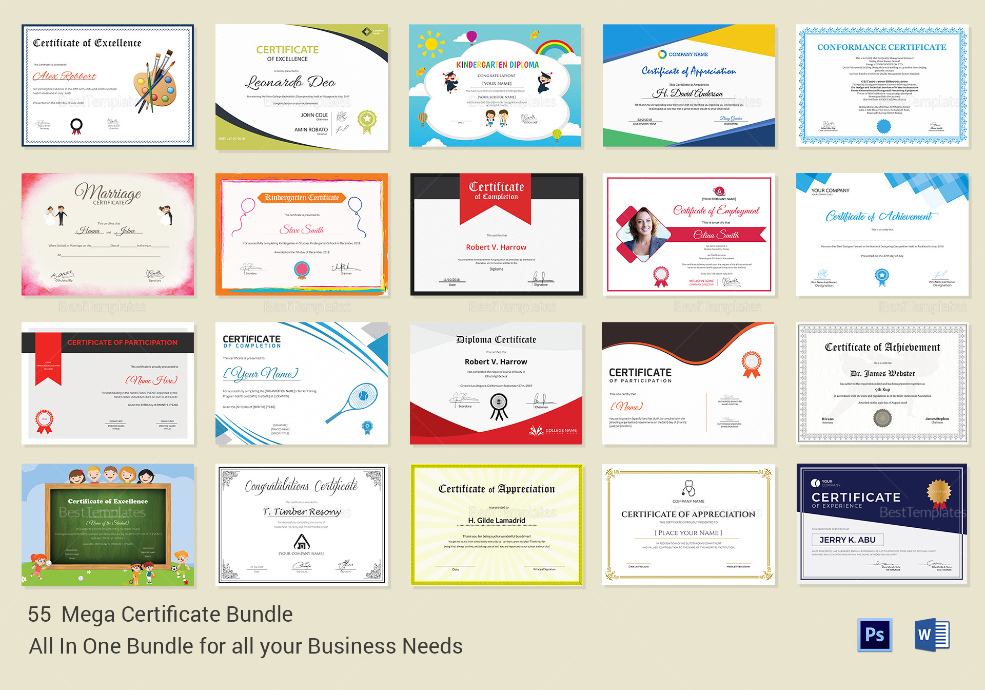 Mega Certificate bundle templates 1