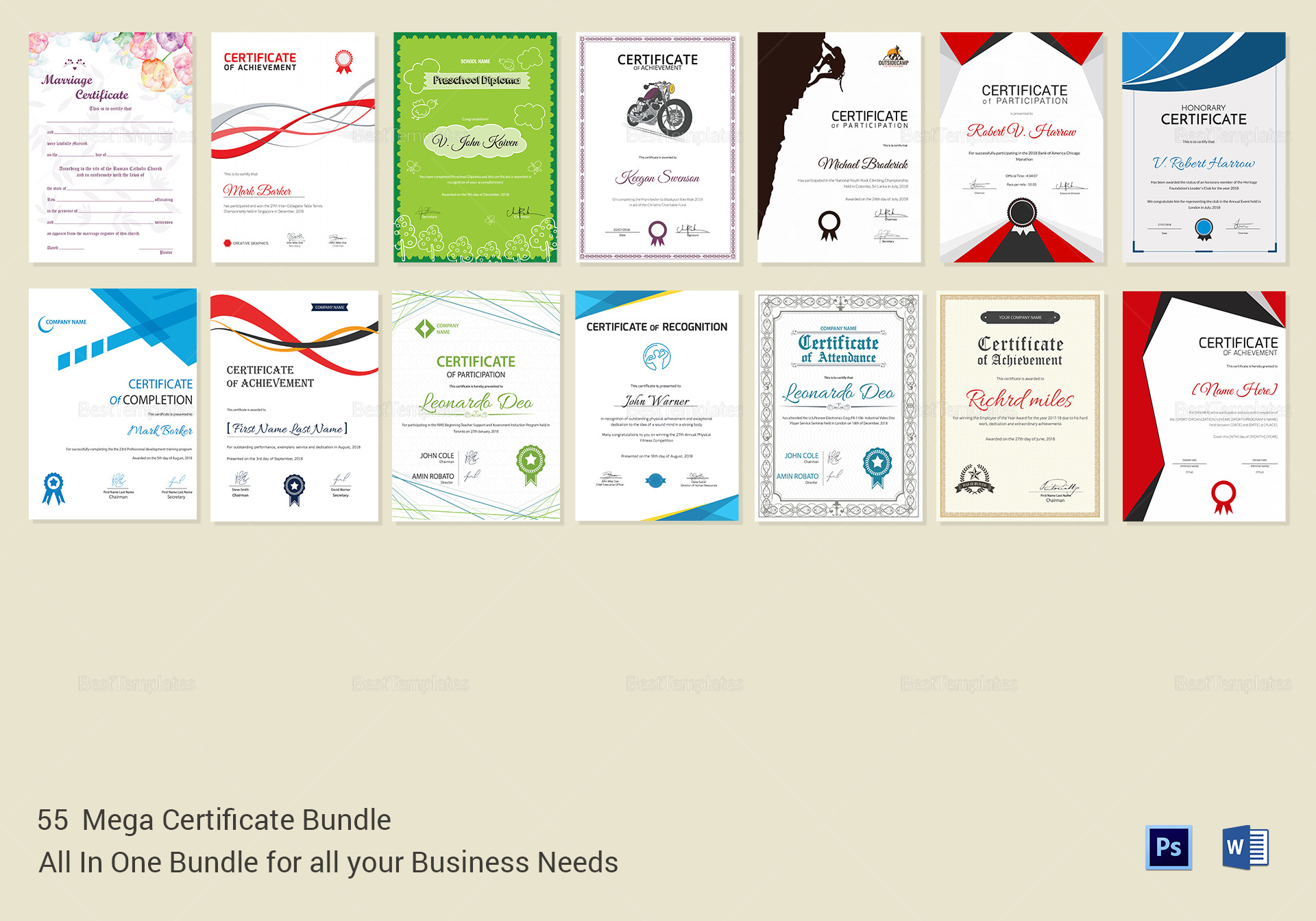 Mega Certificate bundle templates 2