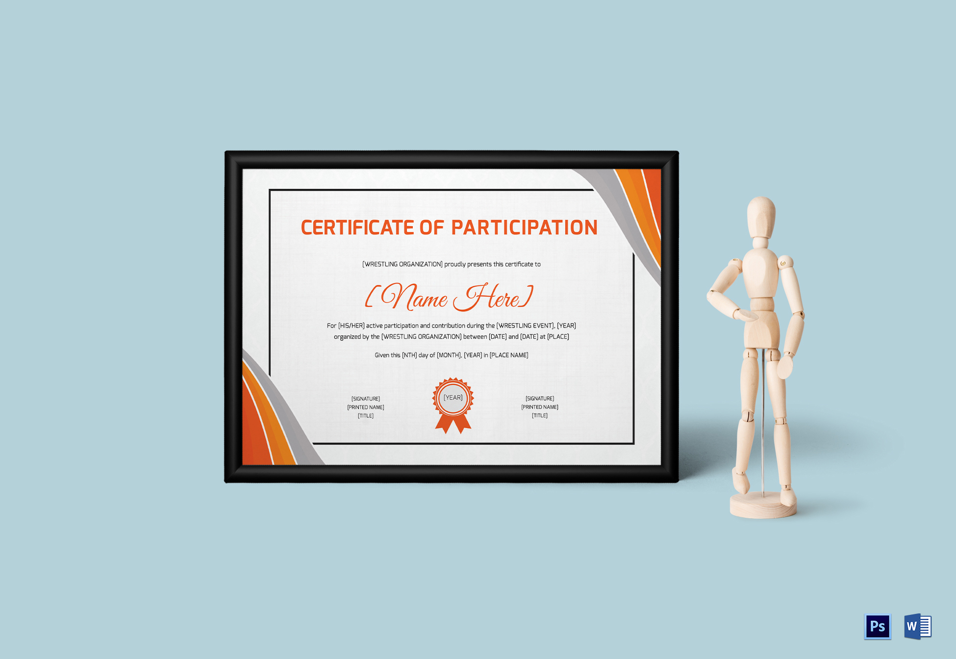 Wrestling Participation Certificate Template