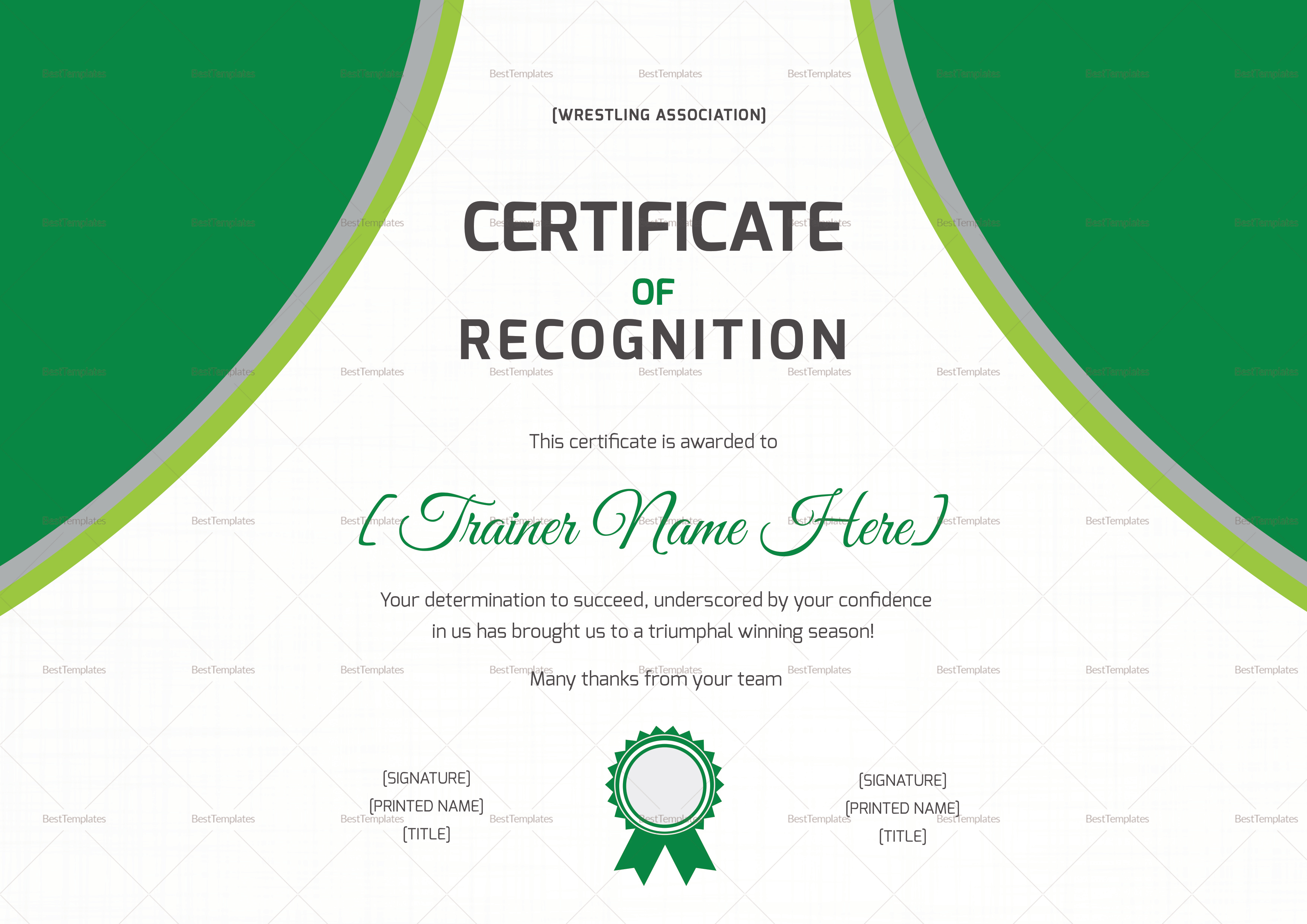 Wrestling Recognition Certificate Design Template