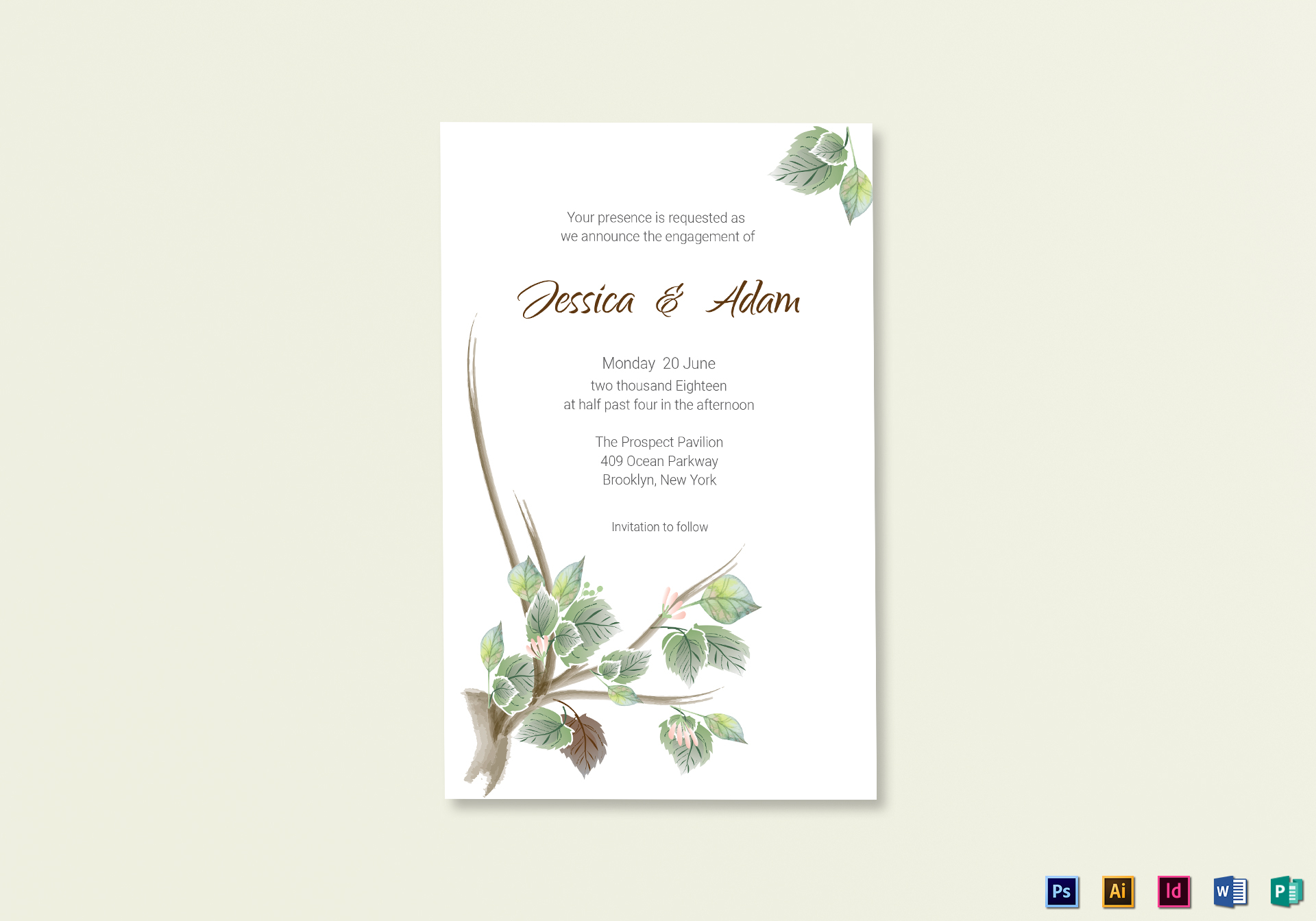 Fall Floral Announcement Card Template