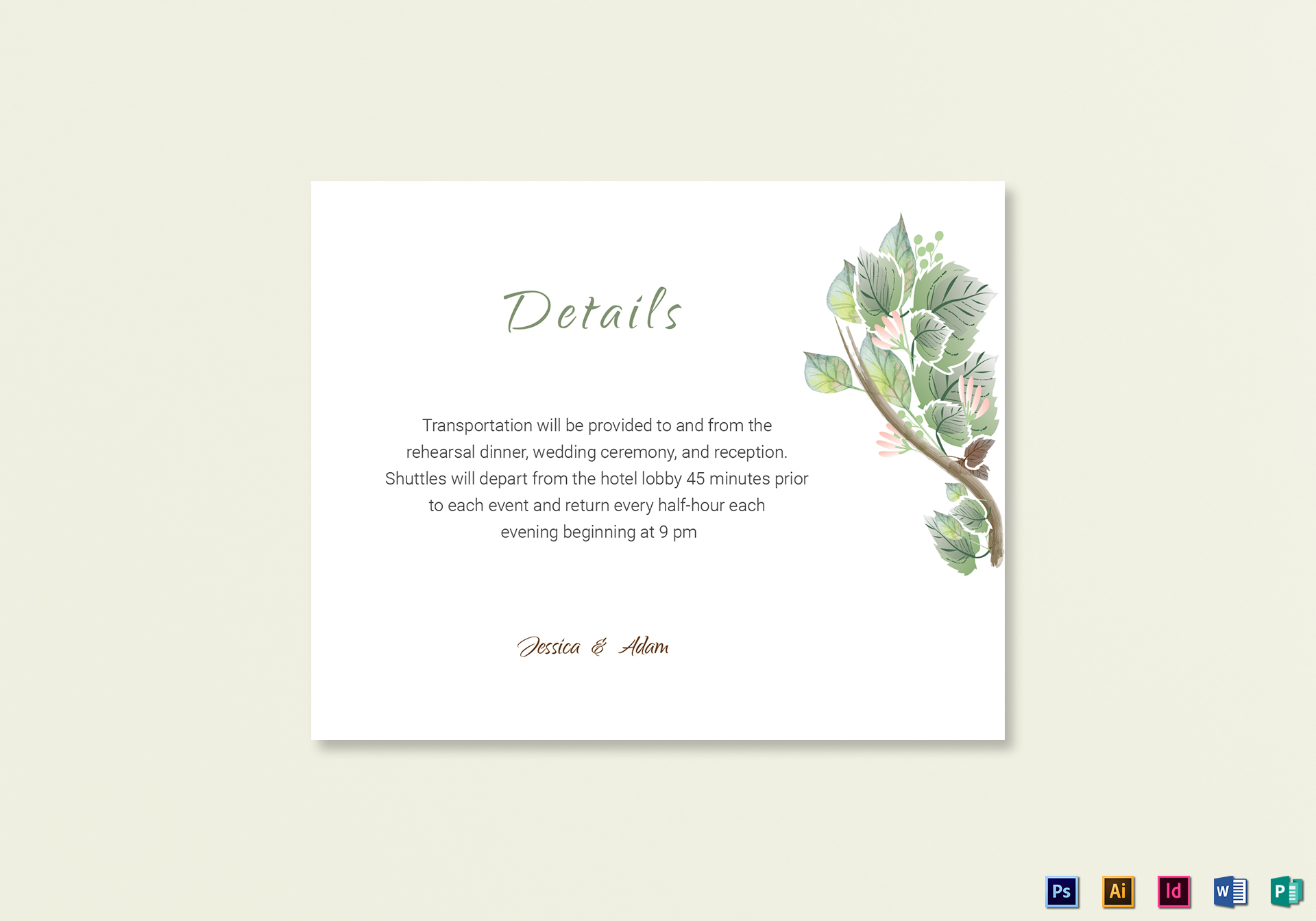 Fall Floral Details Card Template