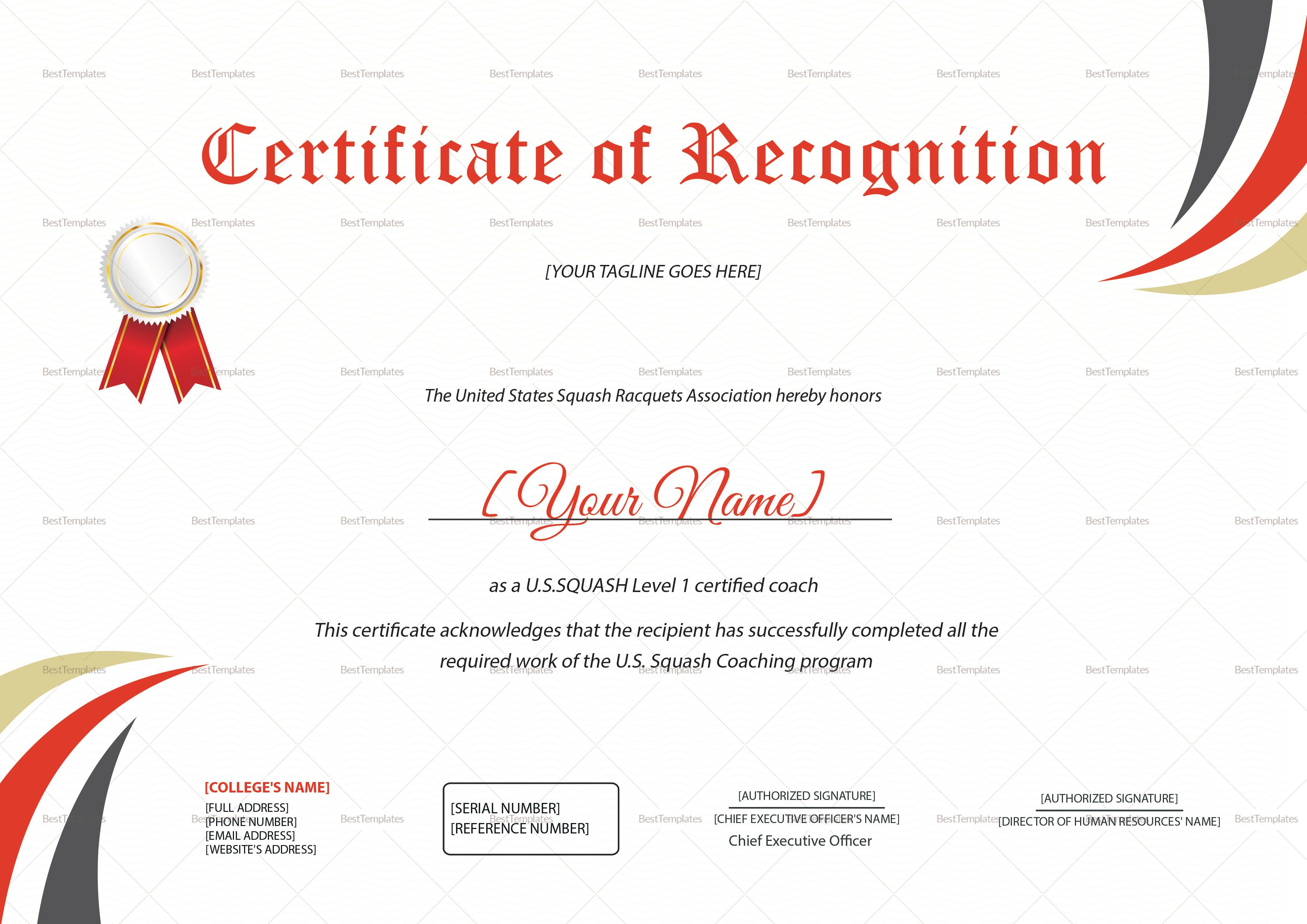 Squash Recognition Certificate Design Template