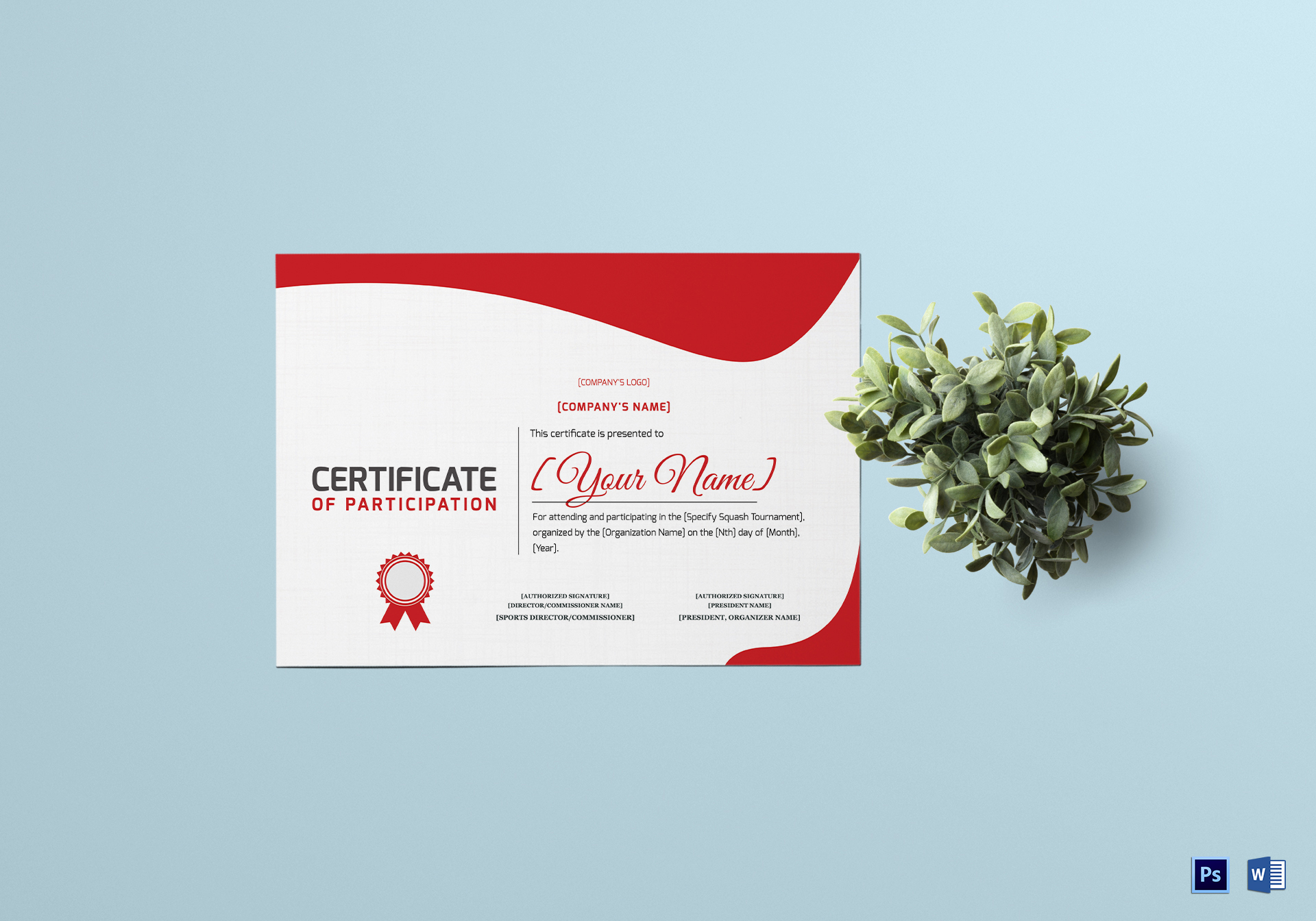 Squash Participation Certificate Template