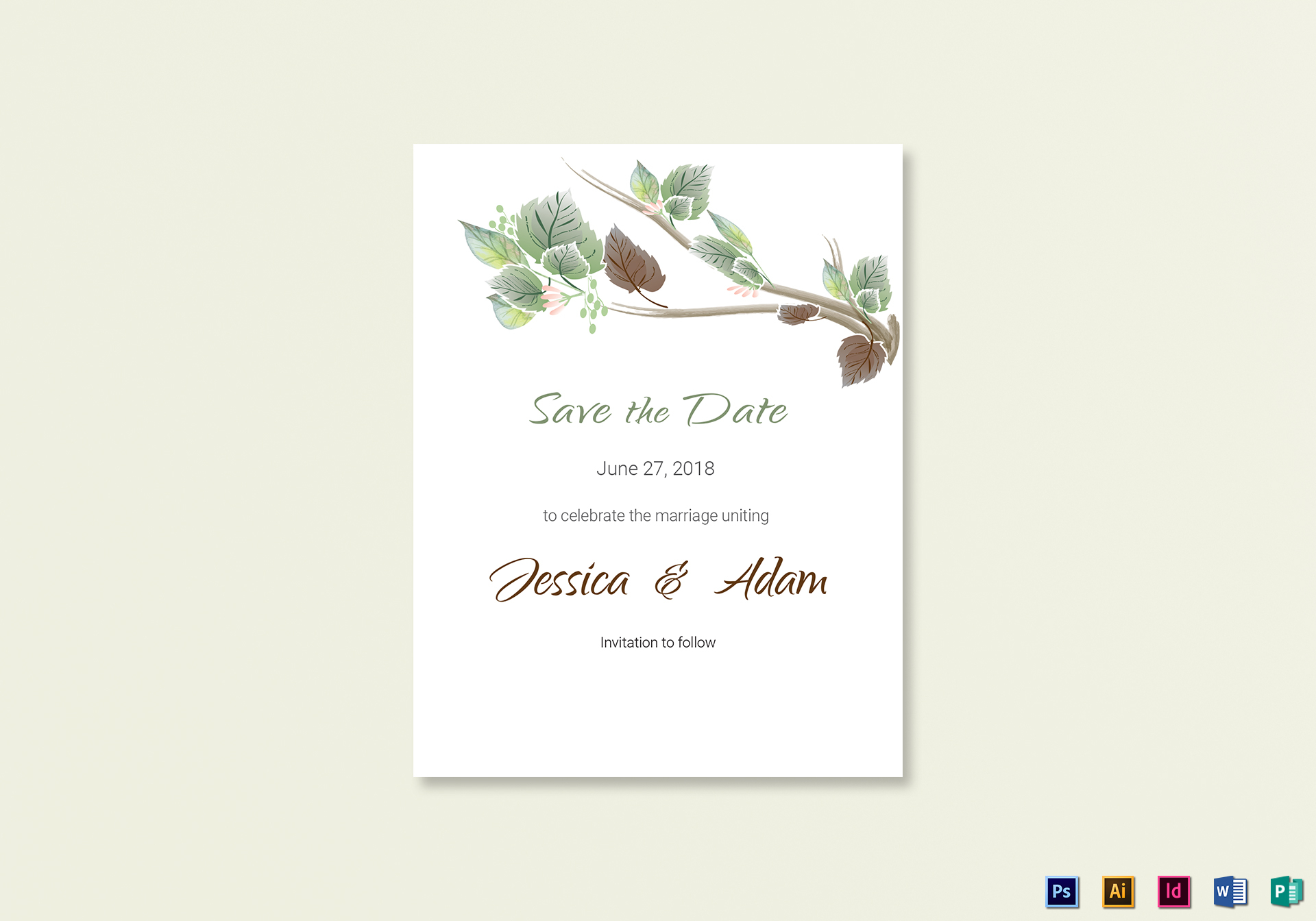 Fall Floral Save the Date Card Template