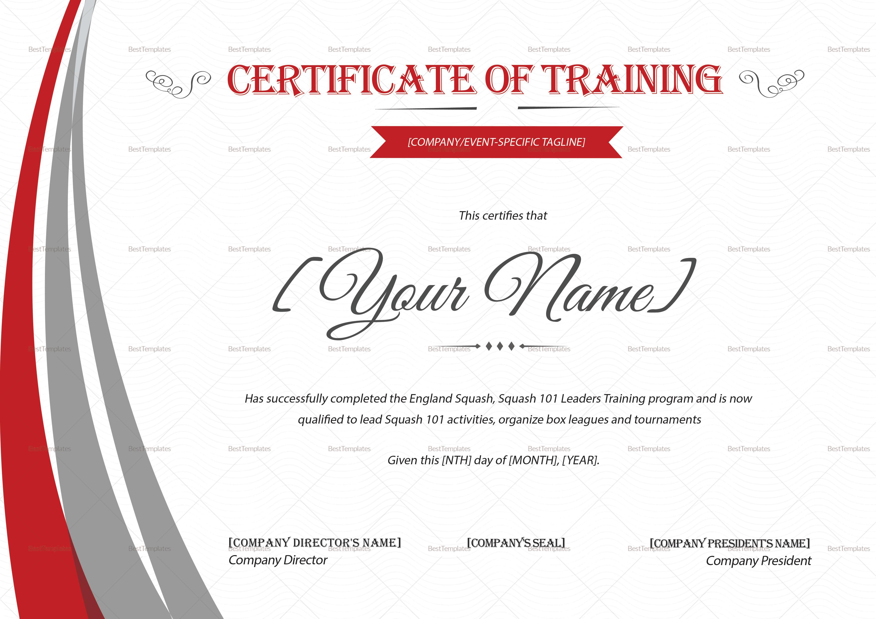 Squash Training Certificate Design Template