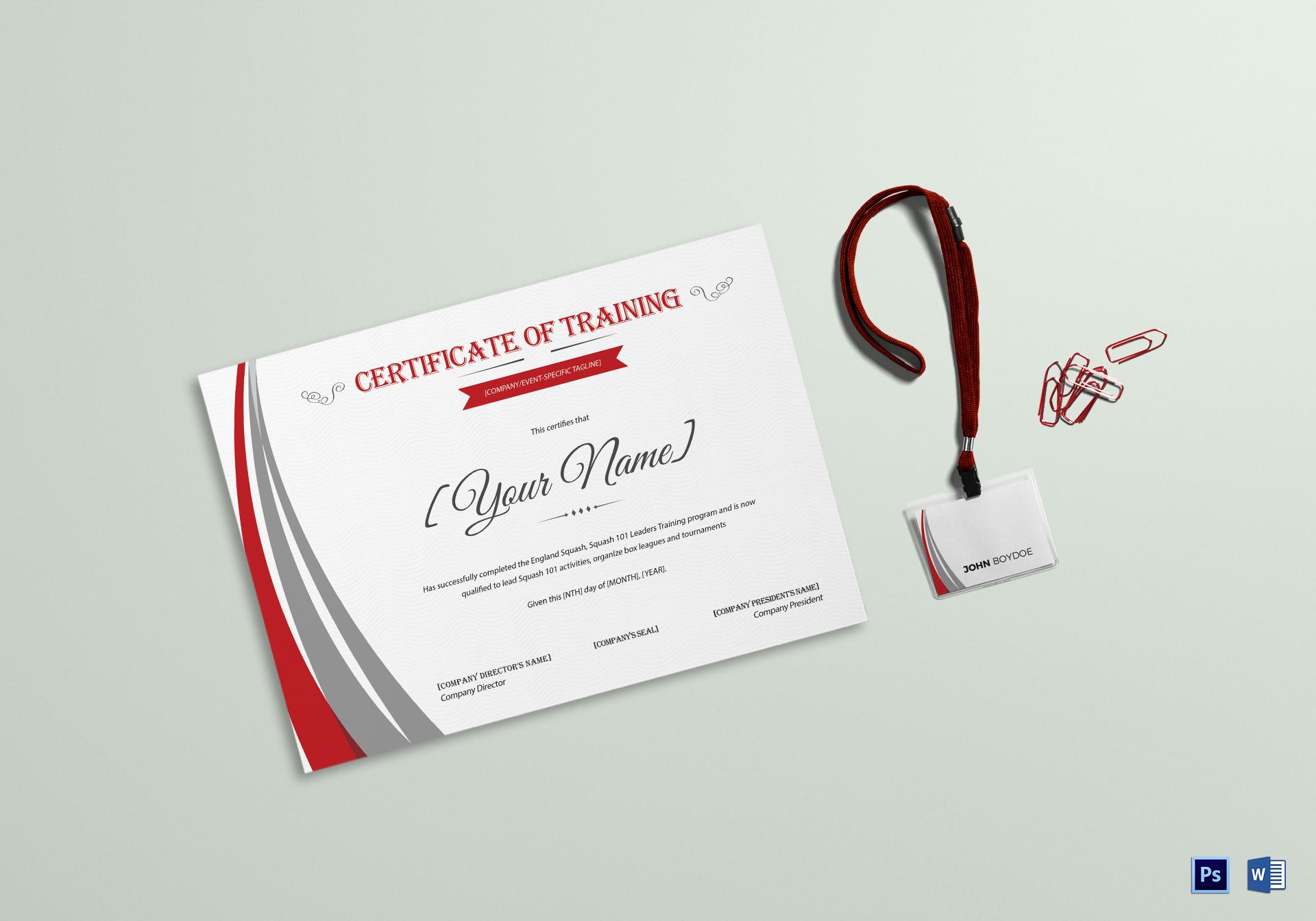 Squash Training Certificate Template