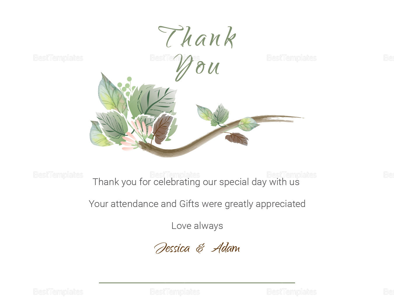 Fall Floral Wedding Thank You Card Template