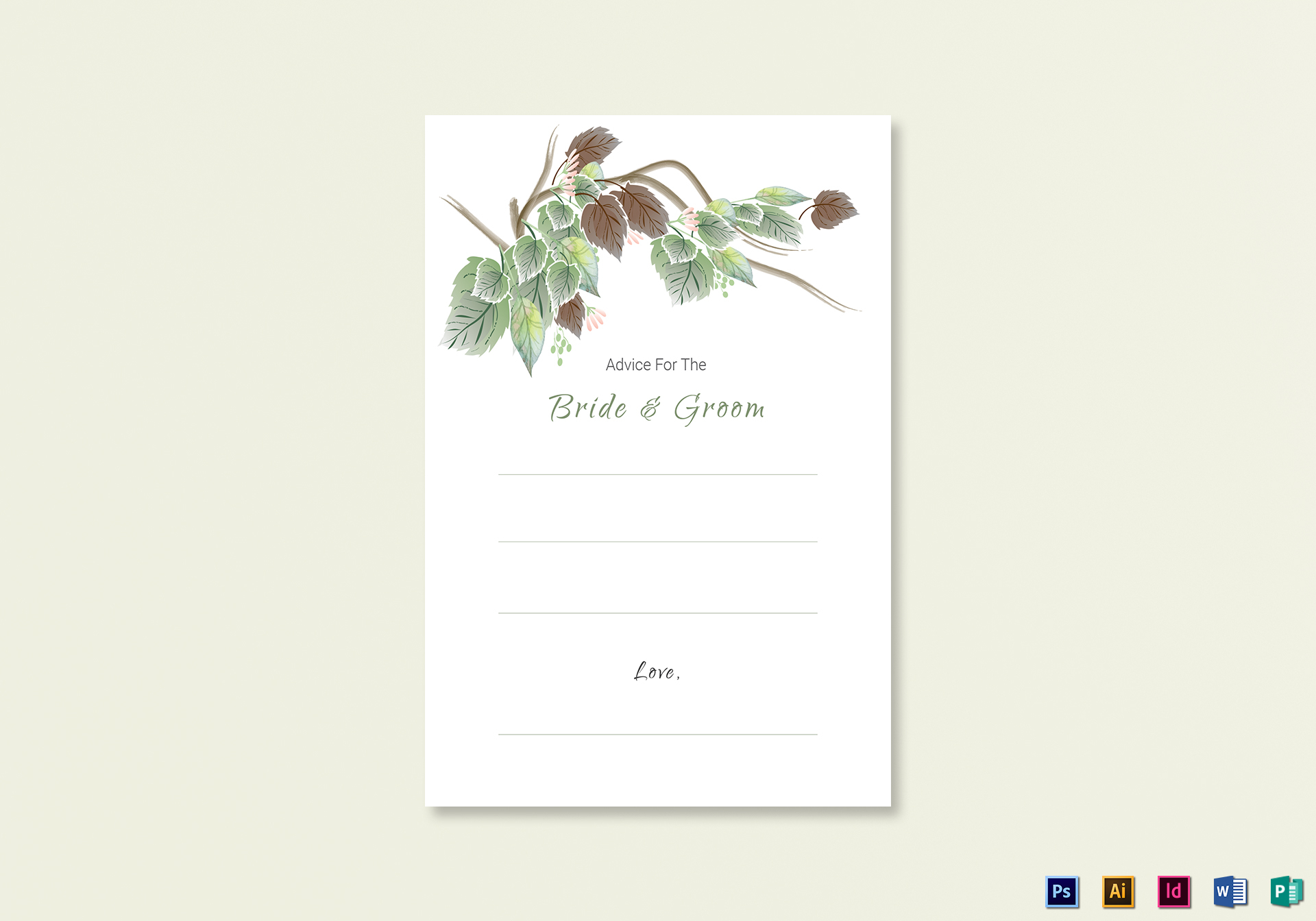 Fall Floral Wedding Advice Card Template