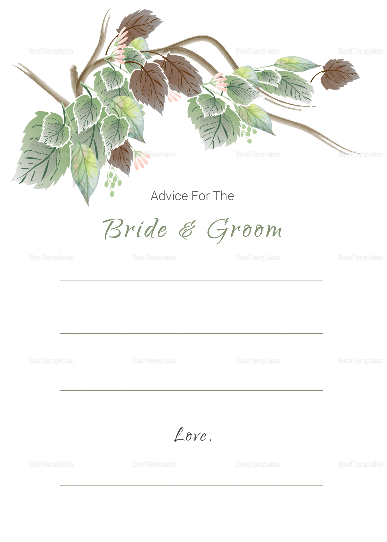 Fall Floral Wedding Advice Card