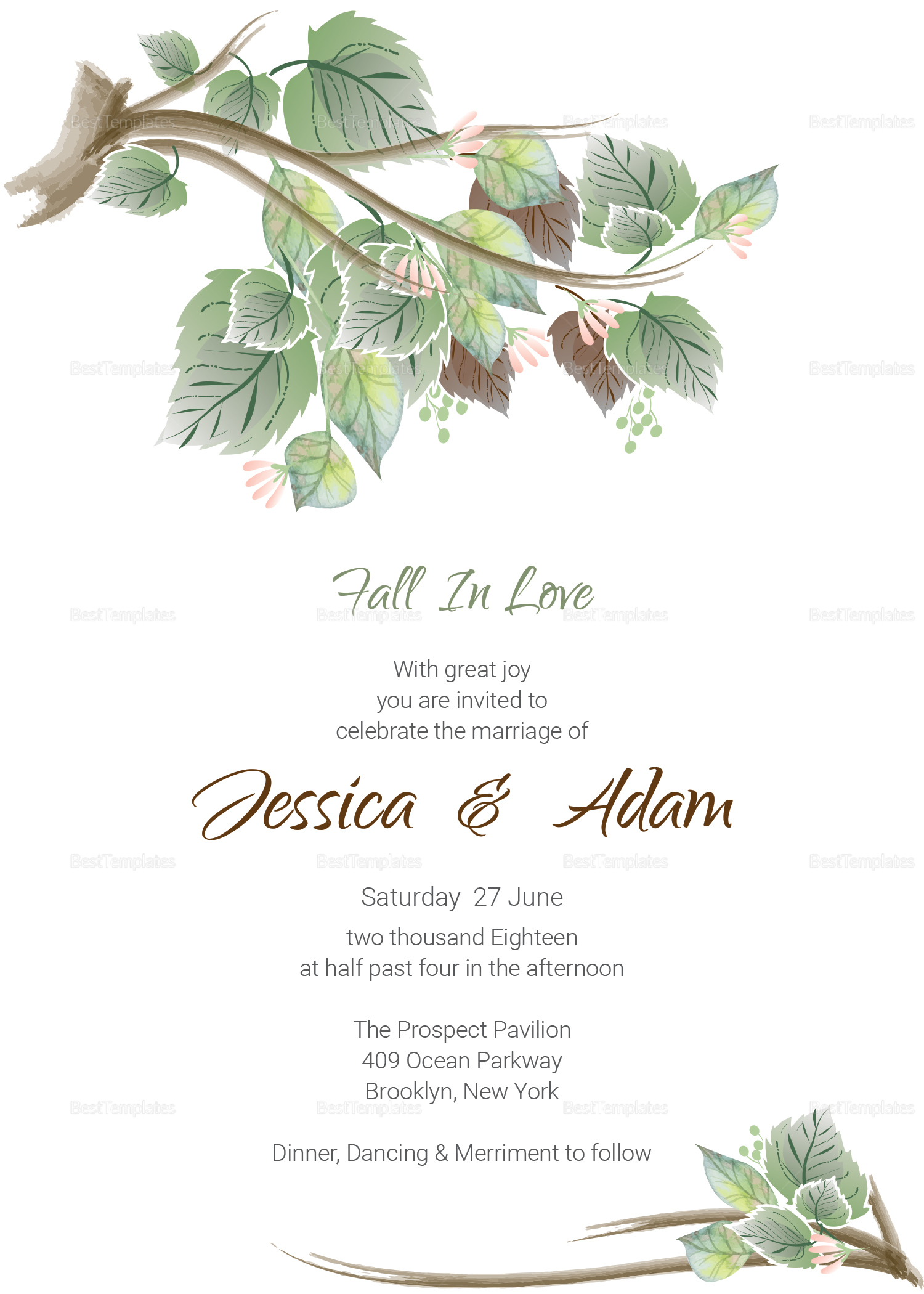Fall Floral Wedding Invitation Card