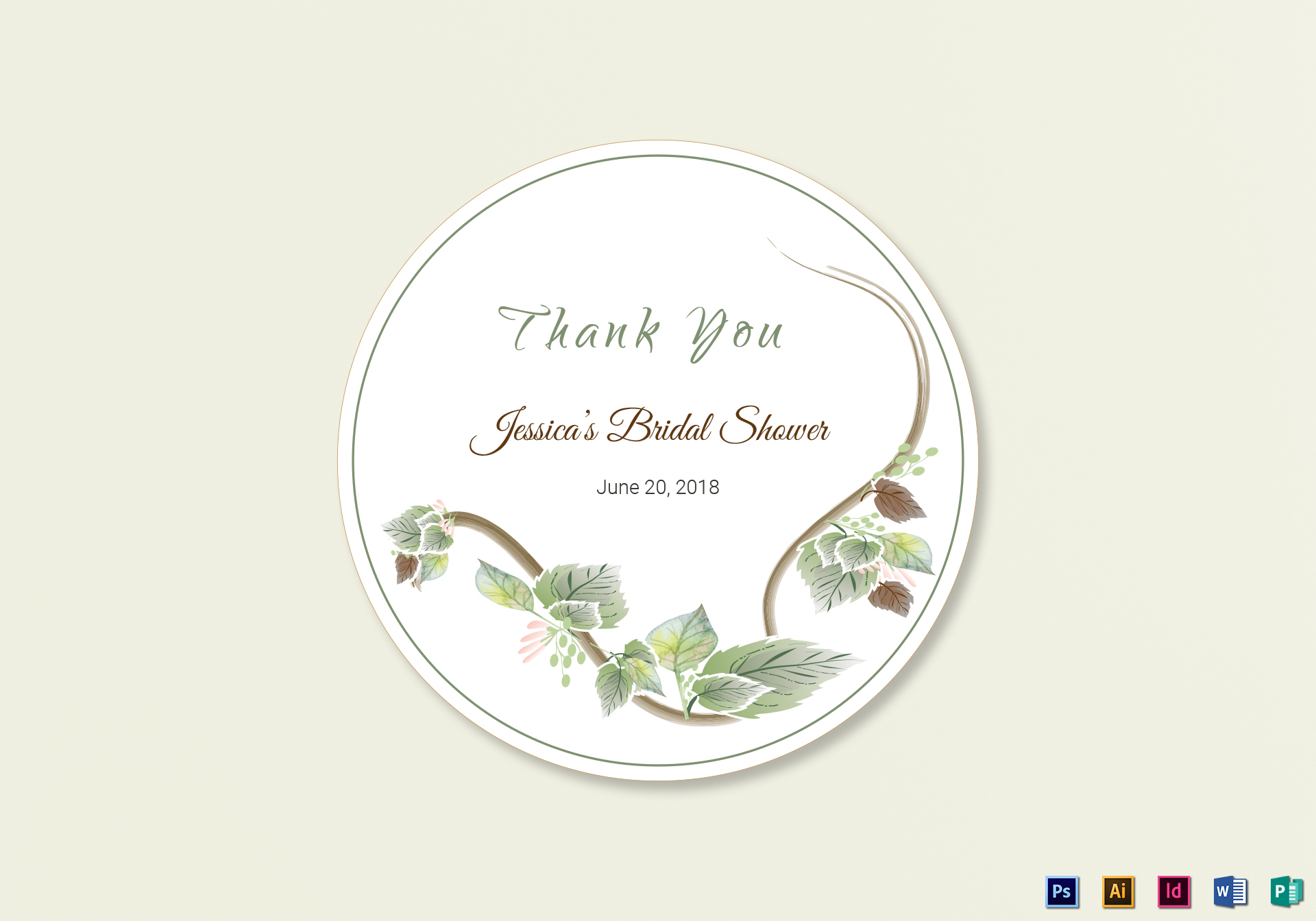 Fall Floral Wedding Label Template