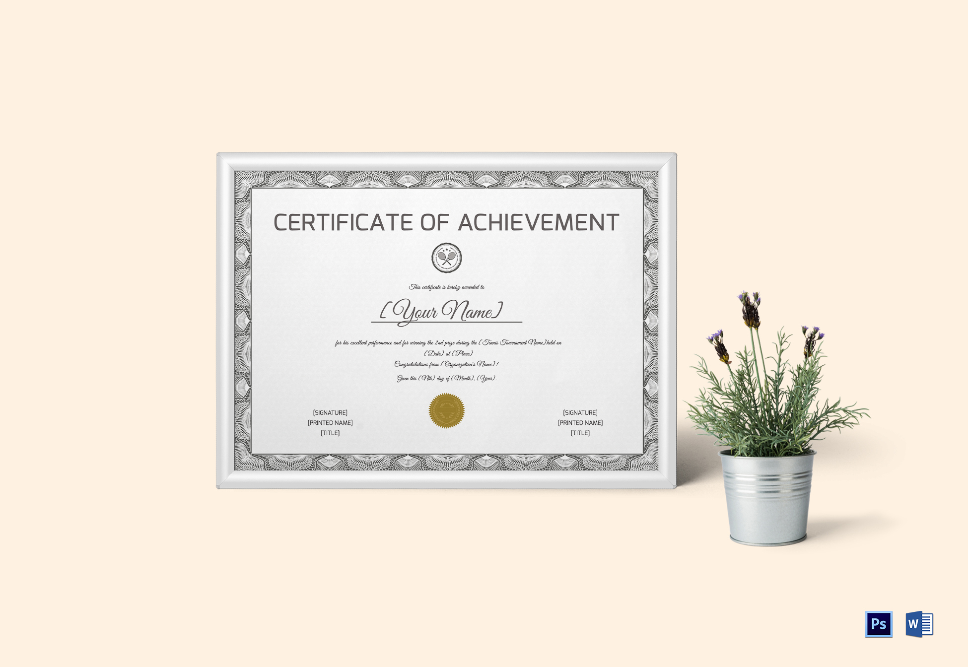 Tennis Achievement Certificate Template