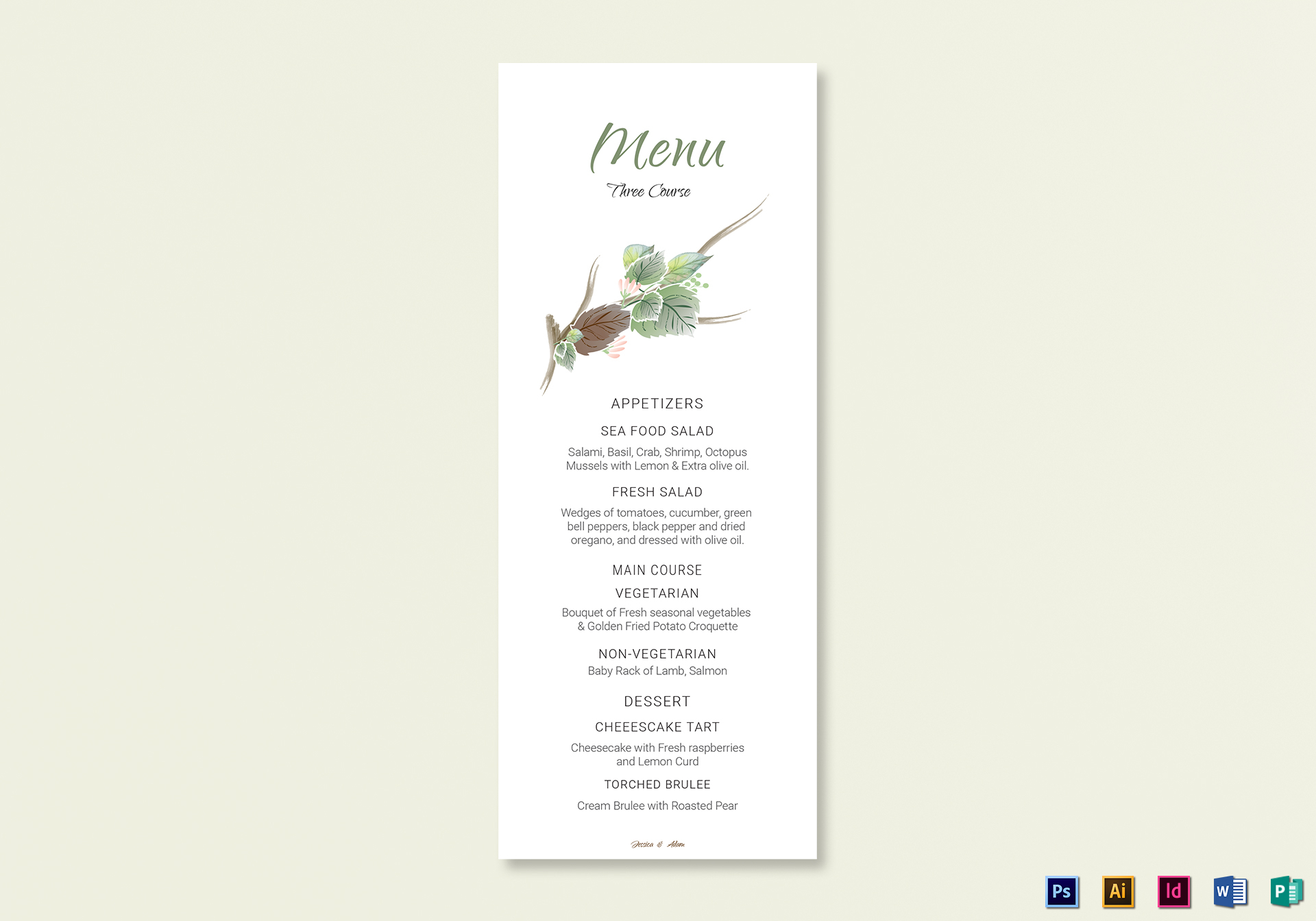 Fall Floral Wedding Menu Card Template