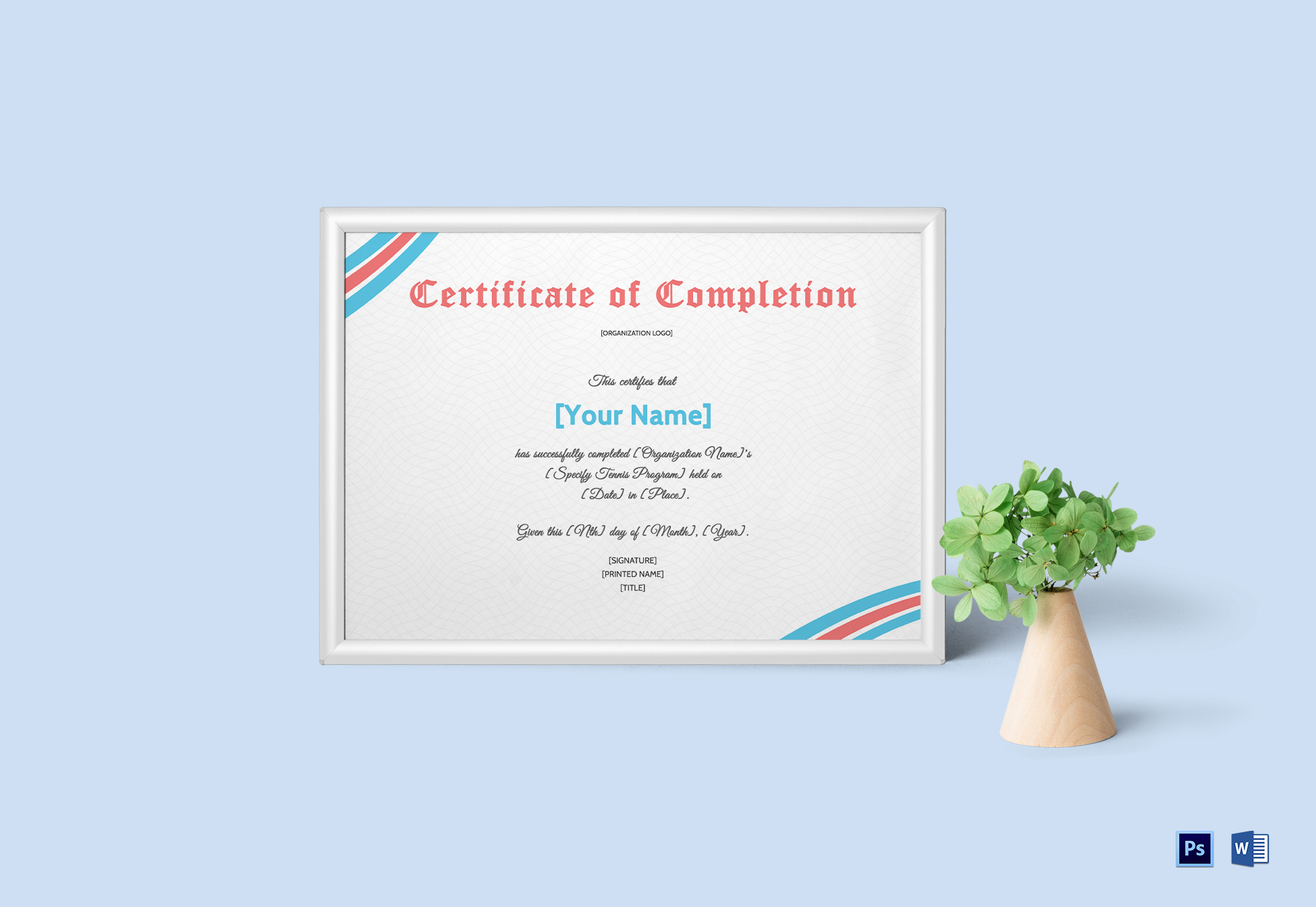 Editable Tennis Completion Certificate Template