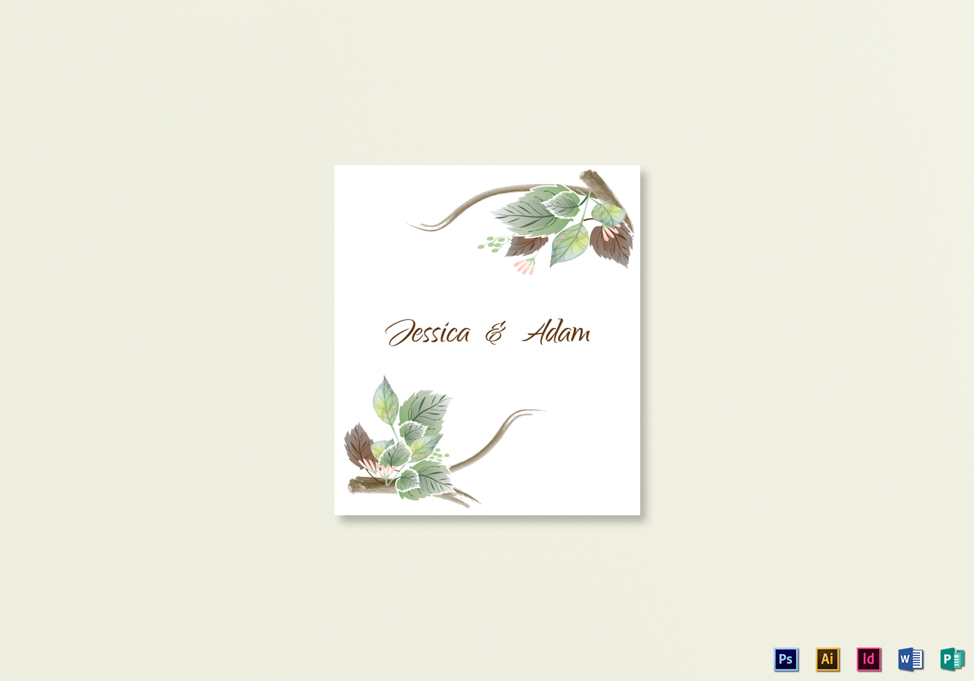 Fall Floral Wedding Place card Template