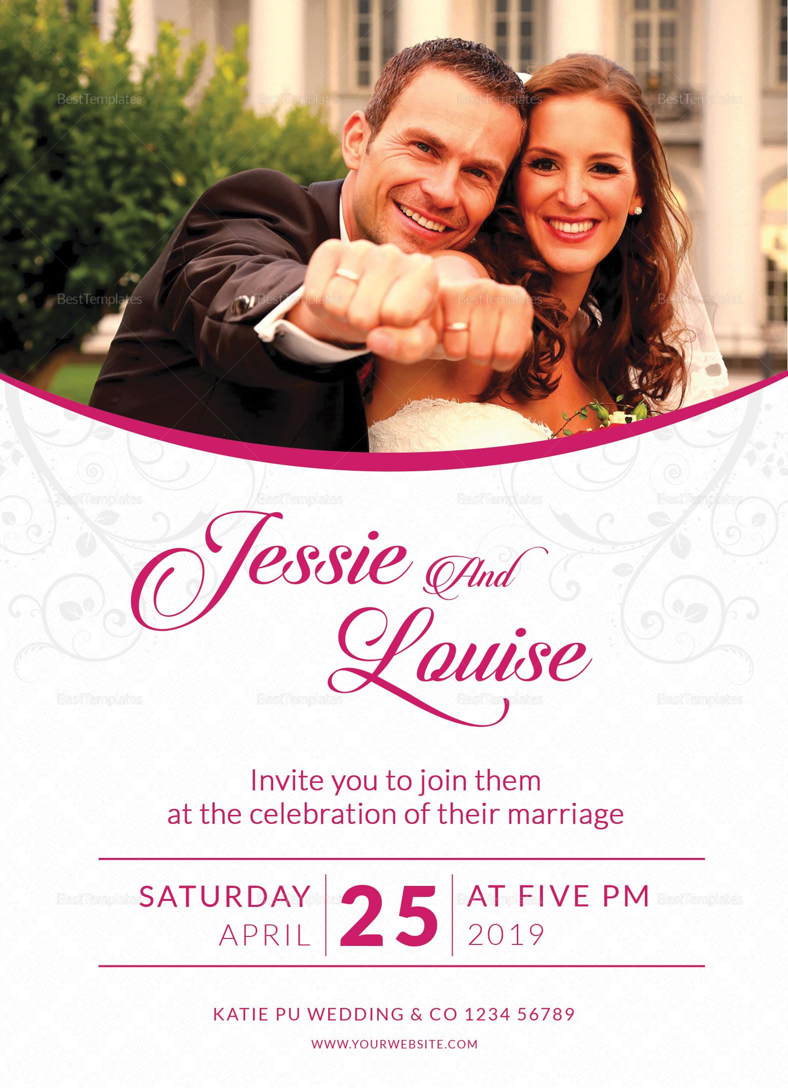 Pink Wedding Invitation Card Design Template