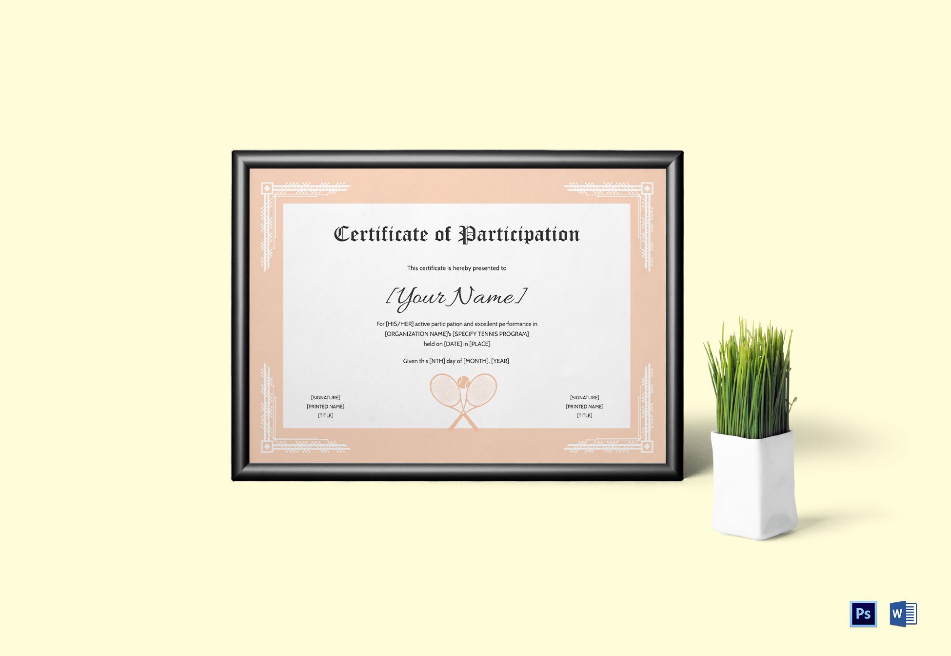 Tennis participation certificate design template in psd word tennis participation certificate template yelopaper Gallery