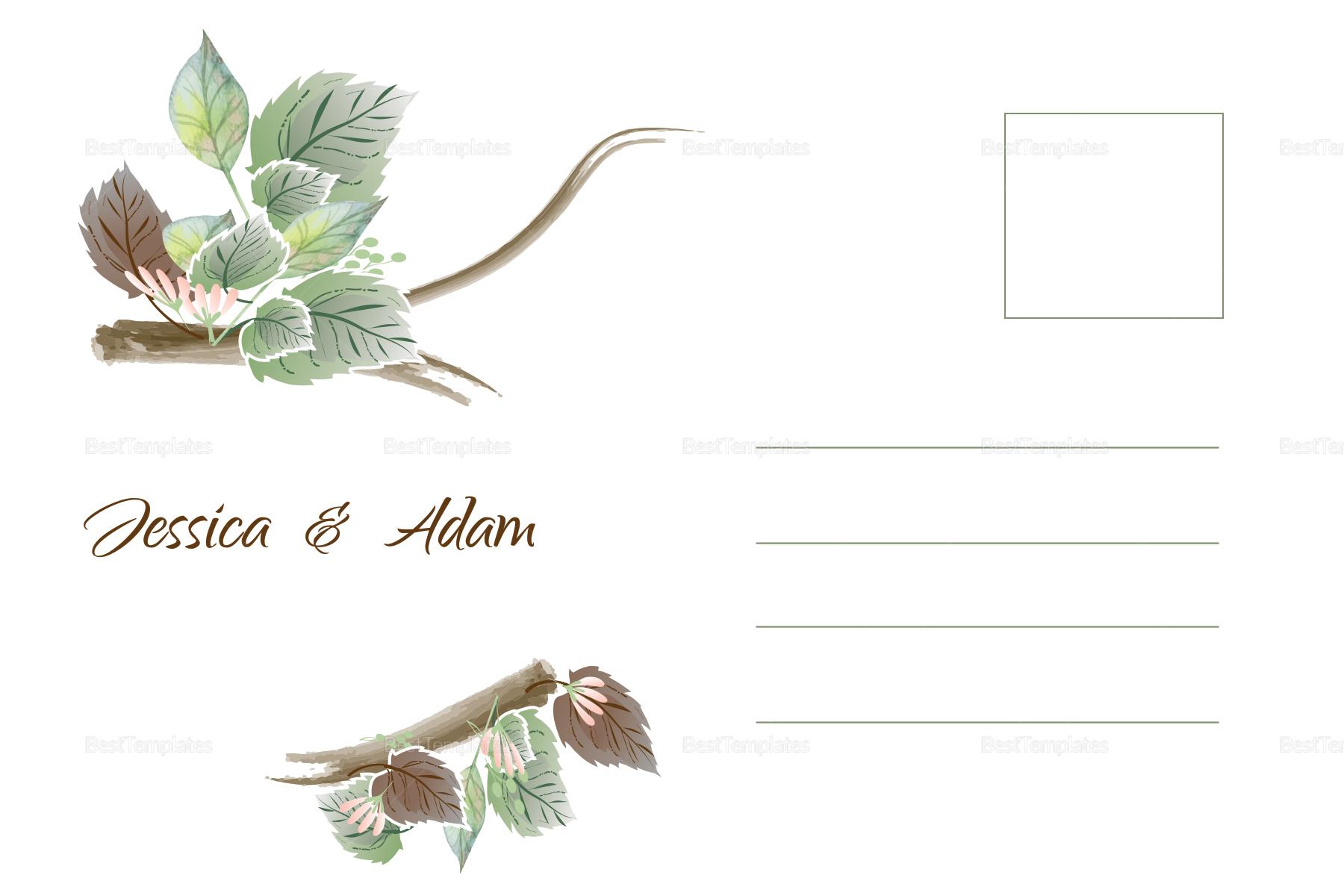 Fall Floral Wedding Post Card