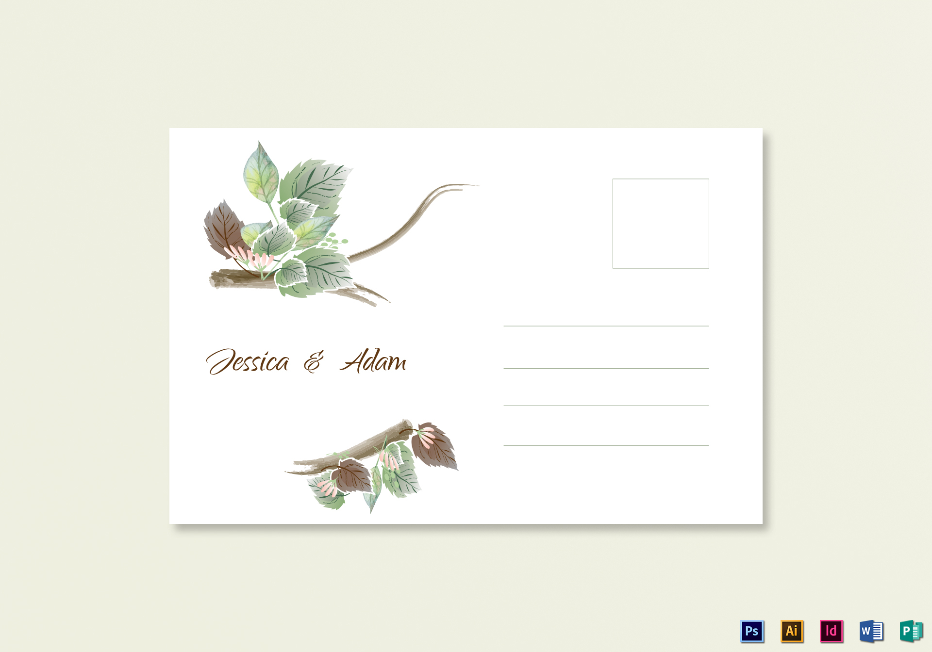 Fall Floral Wedding Post Card Template