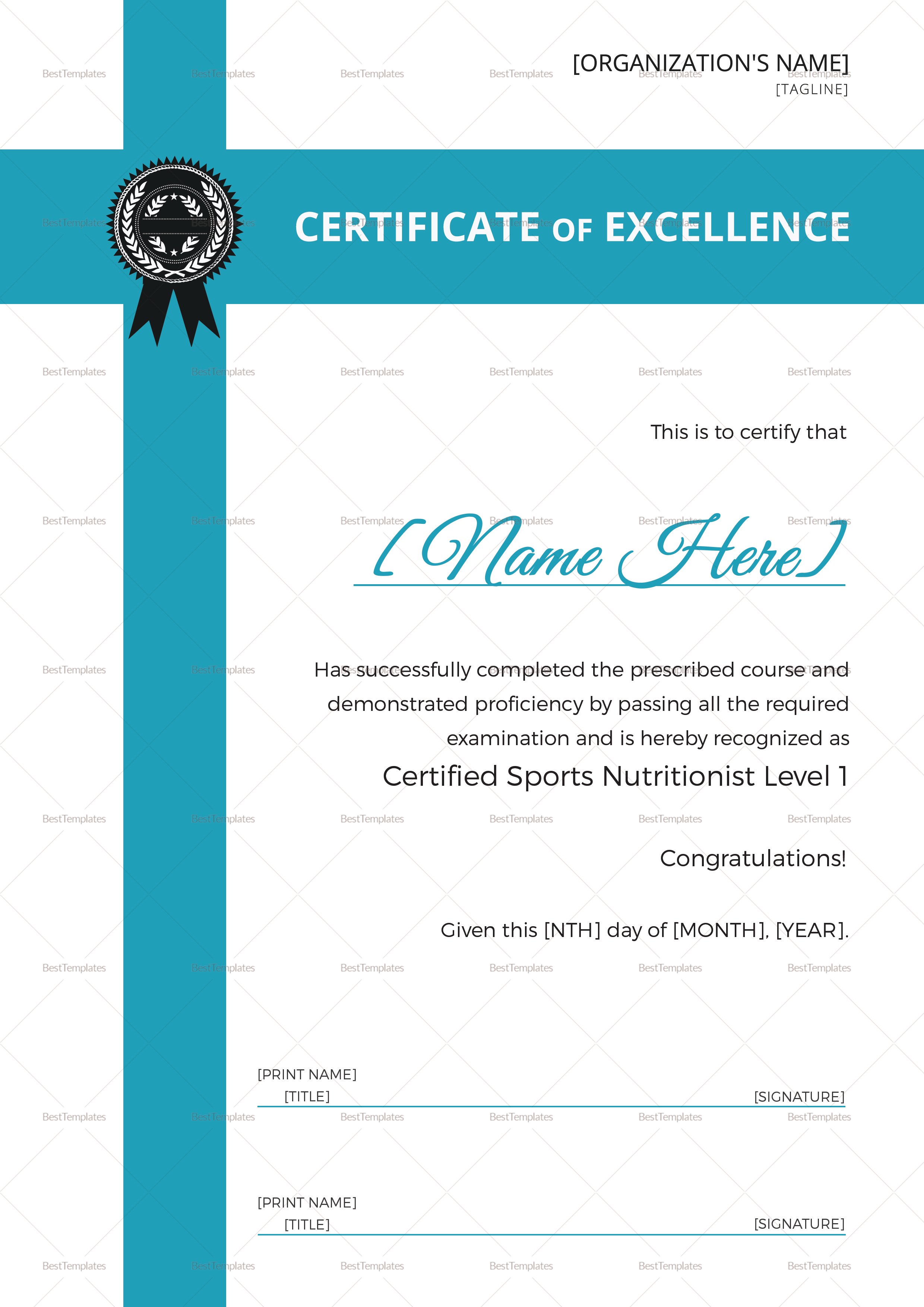 Sports Nutrition Training Certificate Template