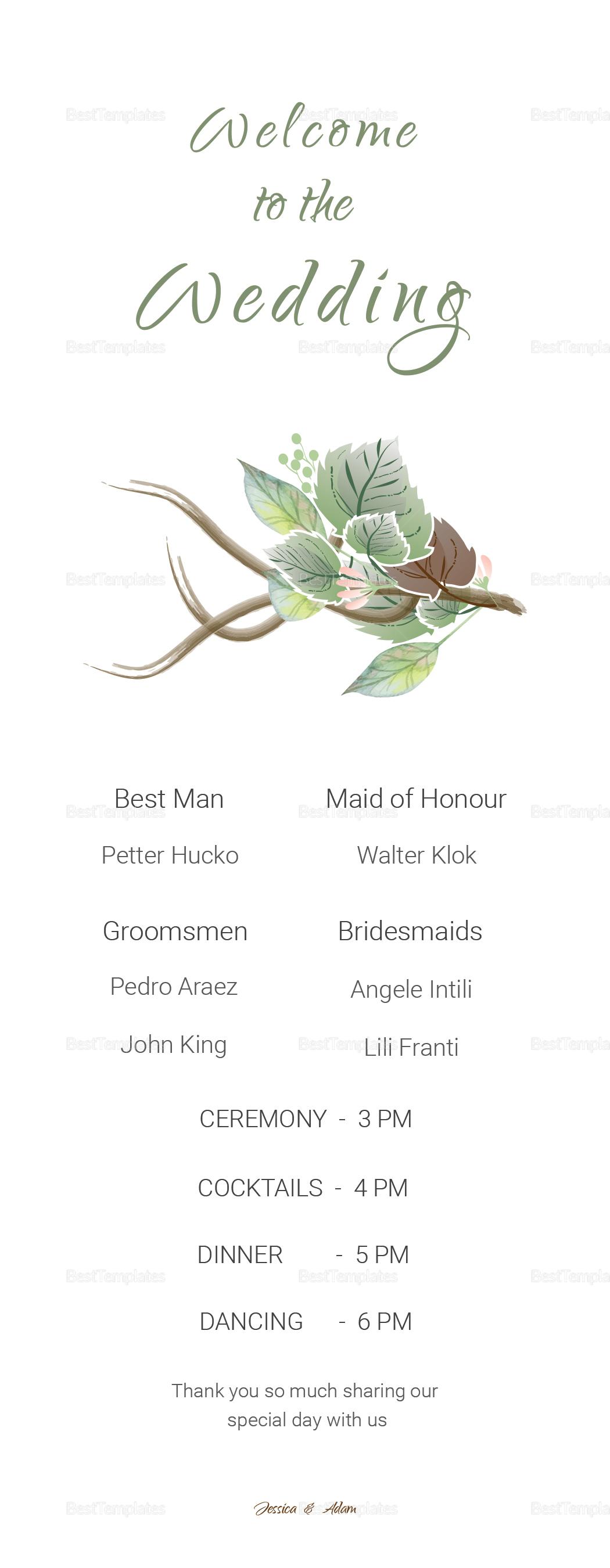 Fall Floral Wedding Program card