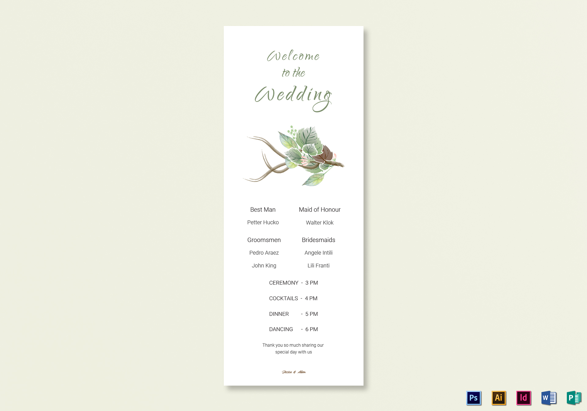 fall wedding program card template in psd word publisher illustrator indesign