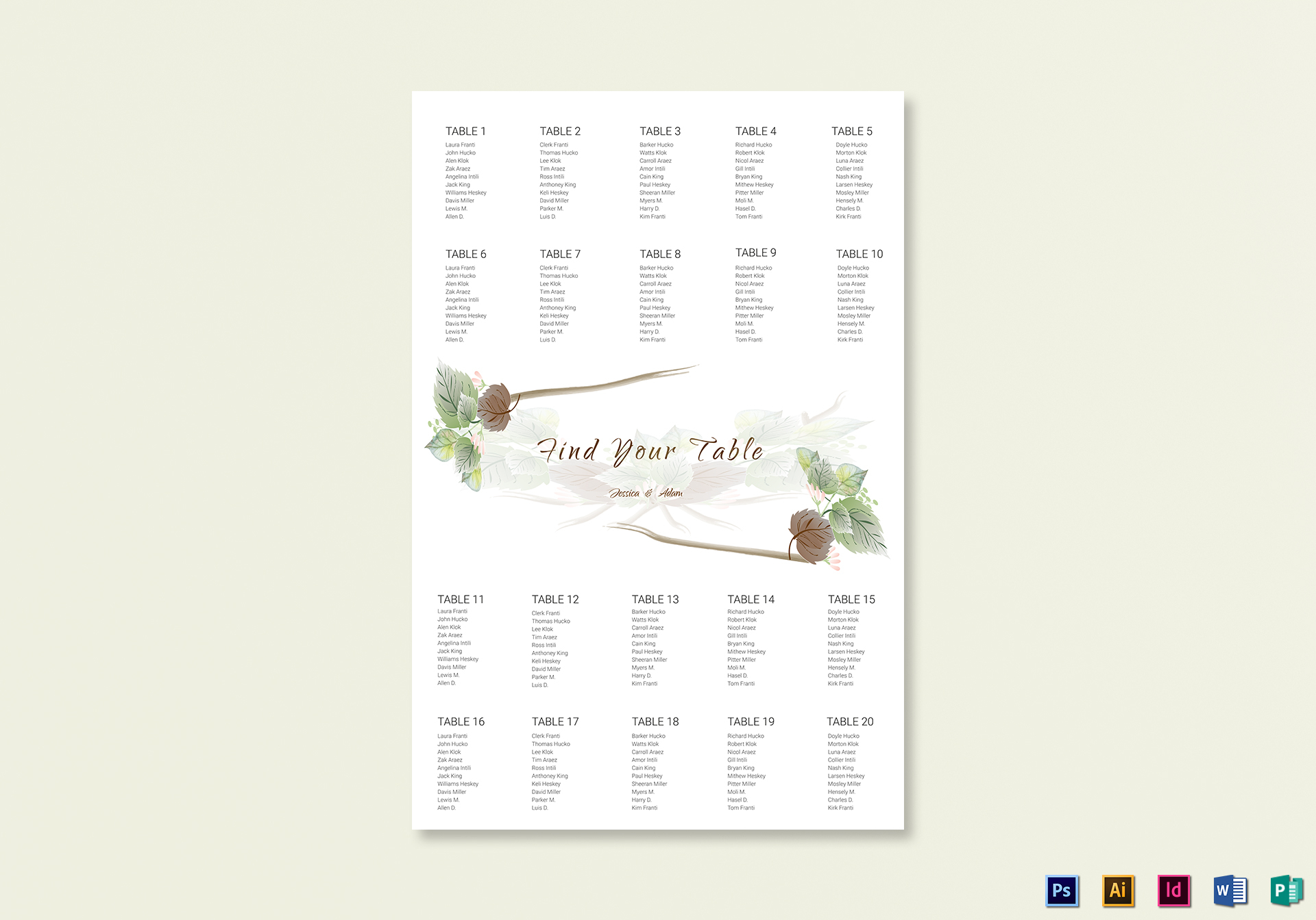 Fall Floral Wedding Seating Chart Template