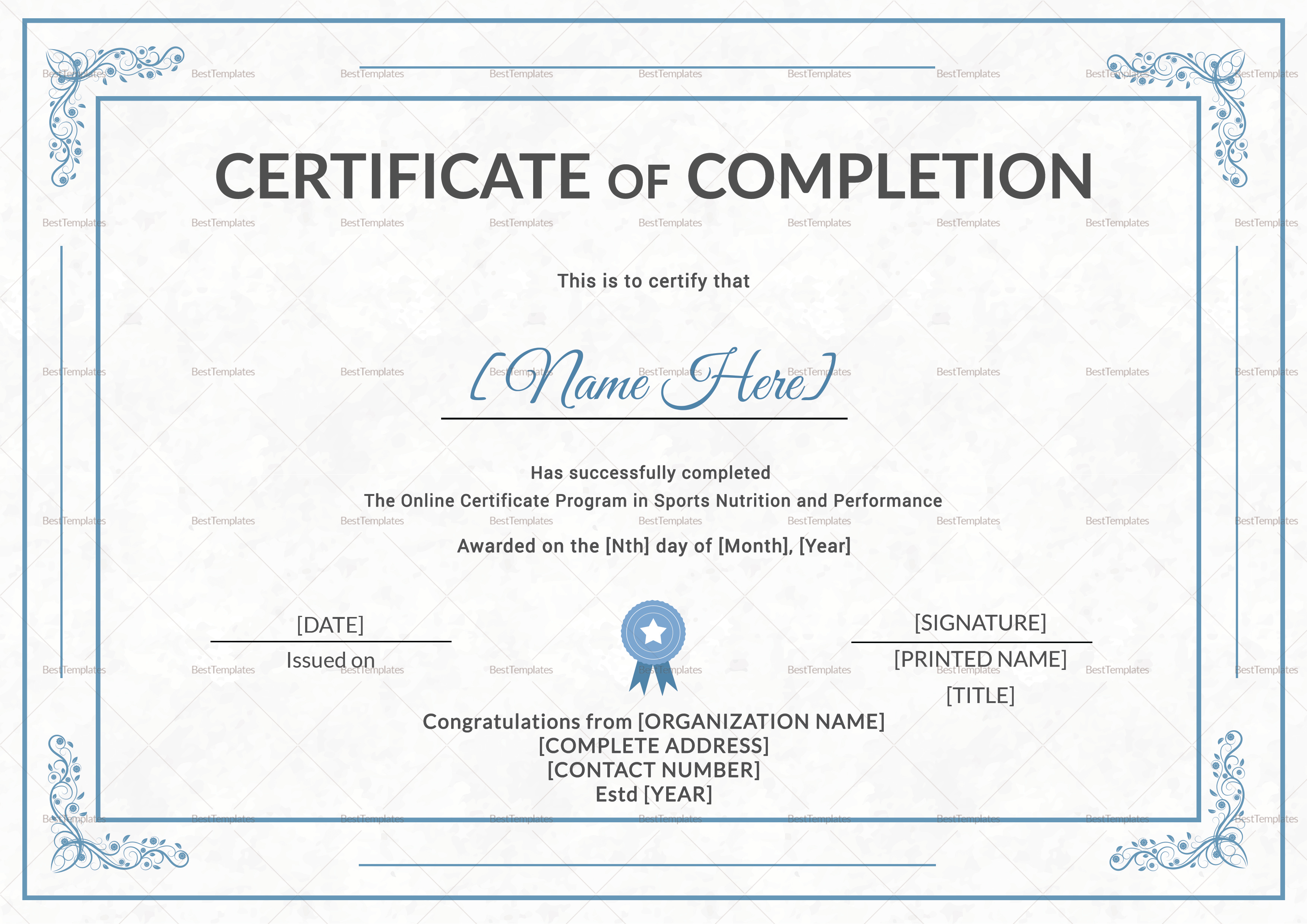 Sports Nutrition Training Completion Certificate Template