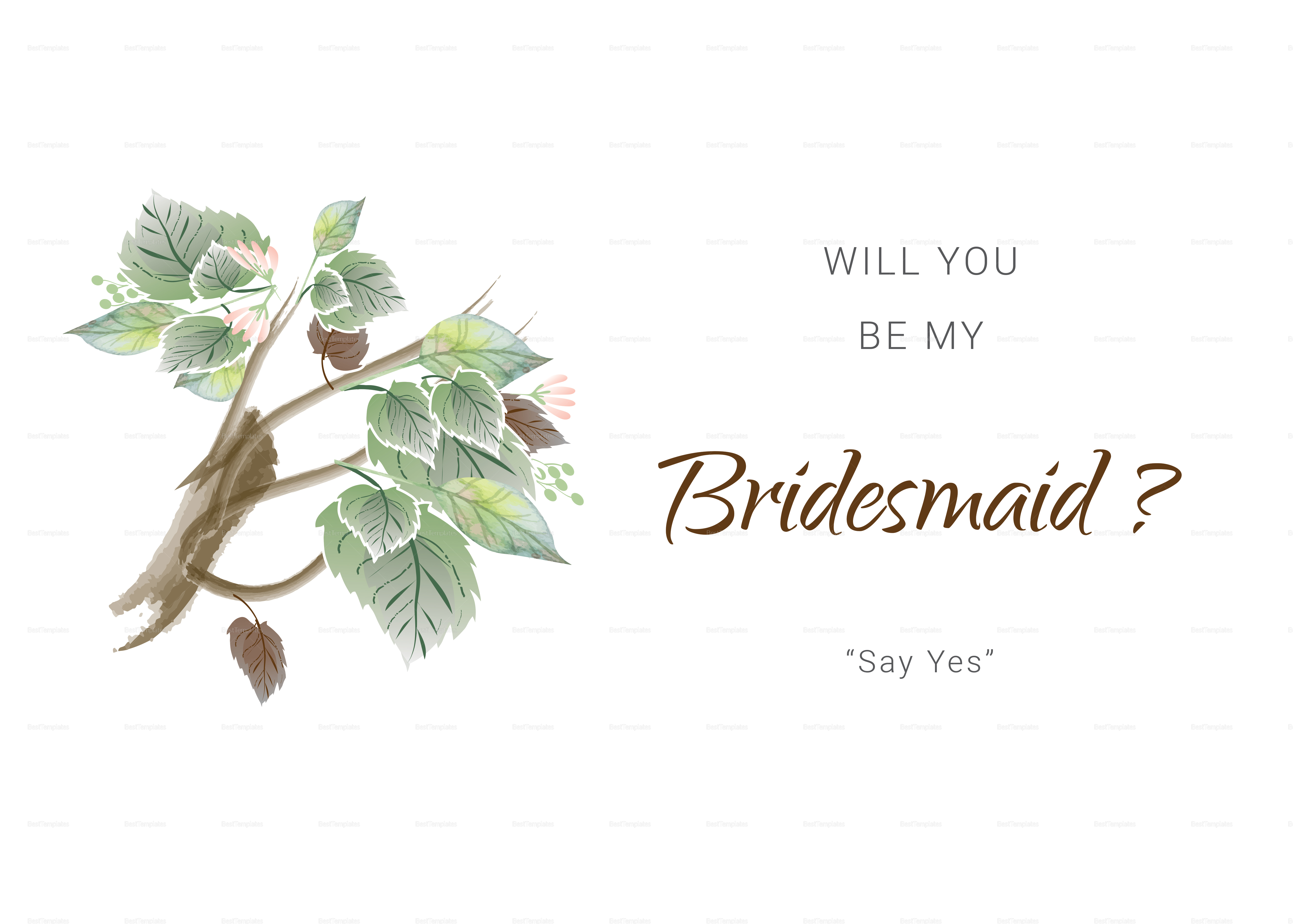 Fall Floral Will You Be My Bridesmaid Card
