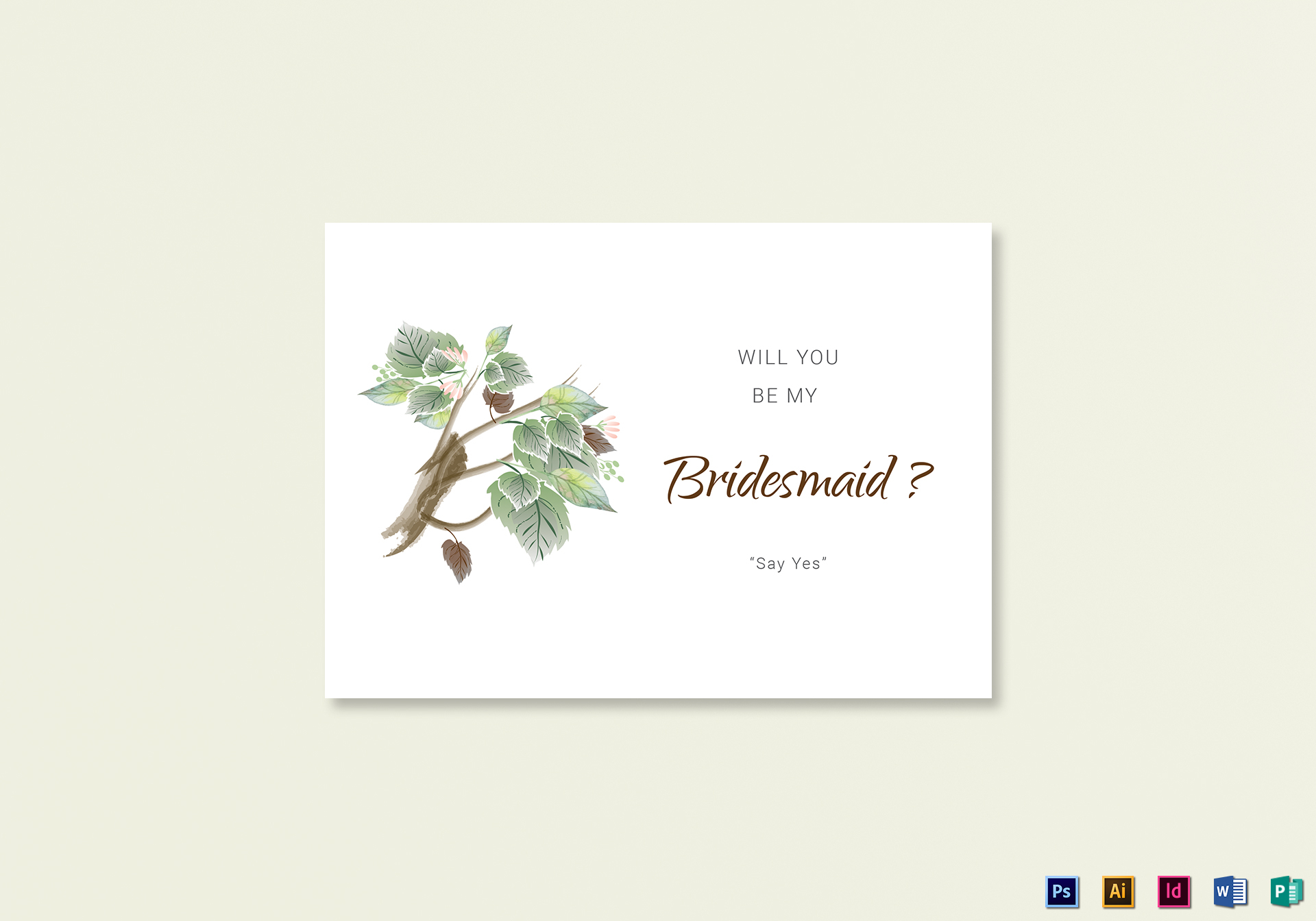 Fall Fl Will You Be My Bridesmaid Card Template