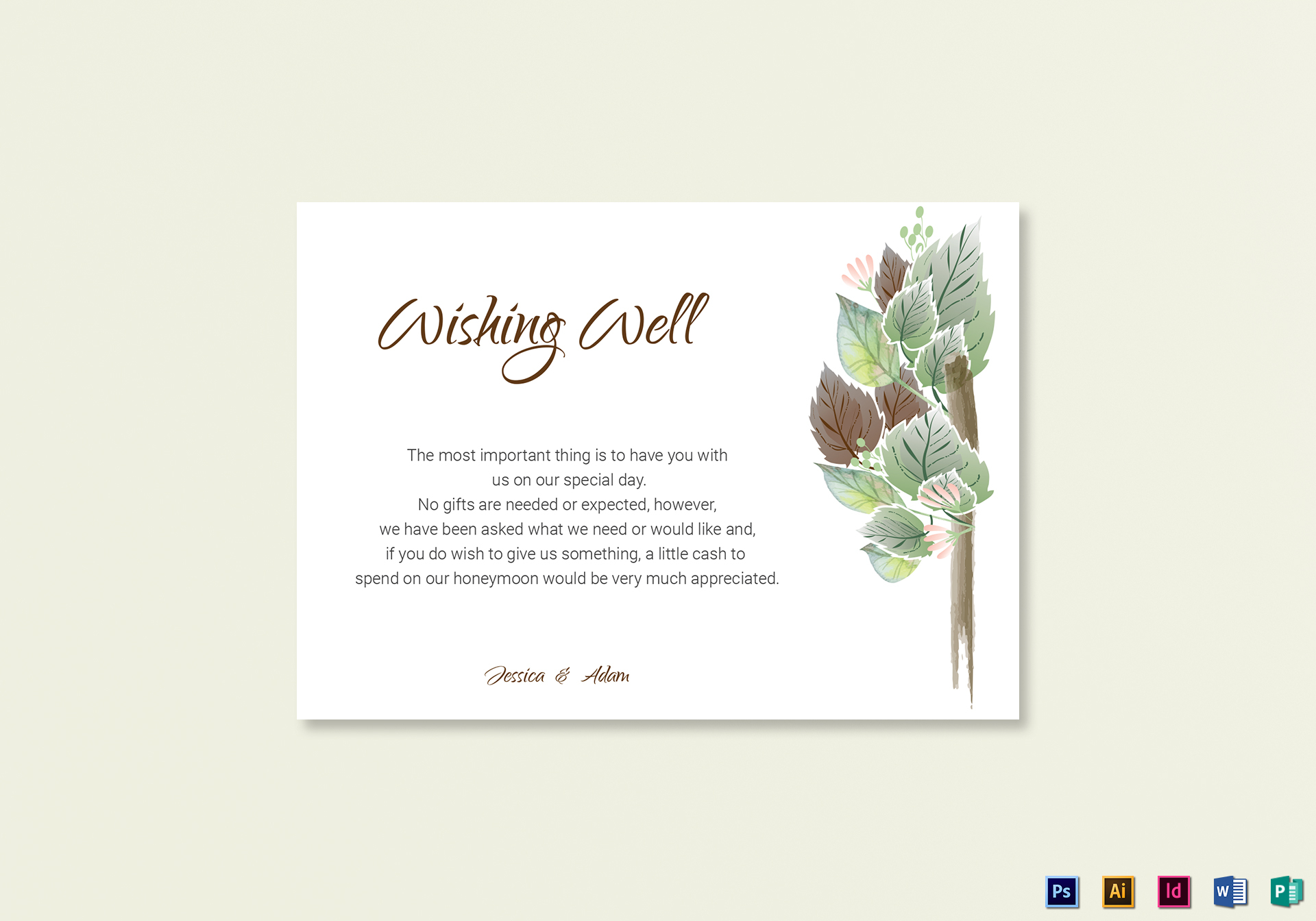Fall Floral Wishing Well Card Template
