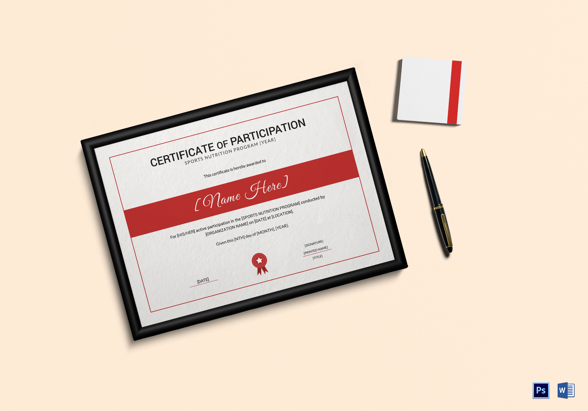 Sports Nutrition Participation Certificate Template