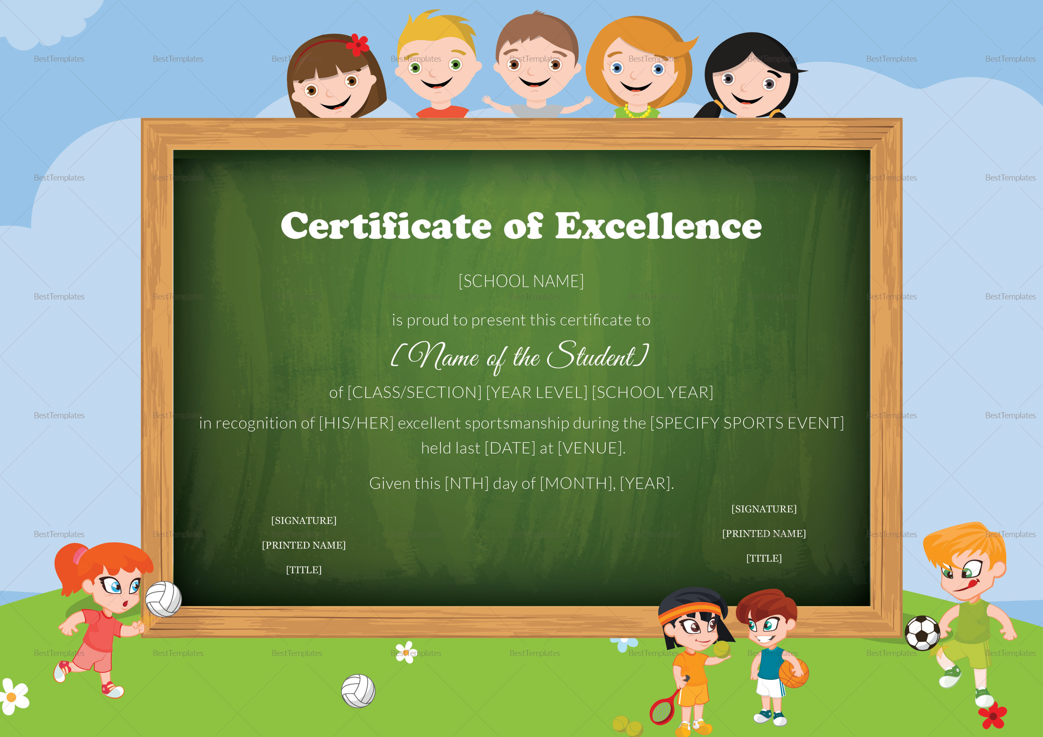 Sports Kids Excellence Certificate Template