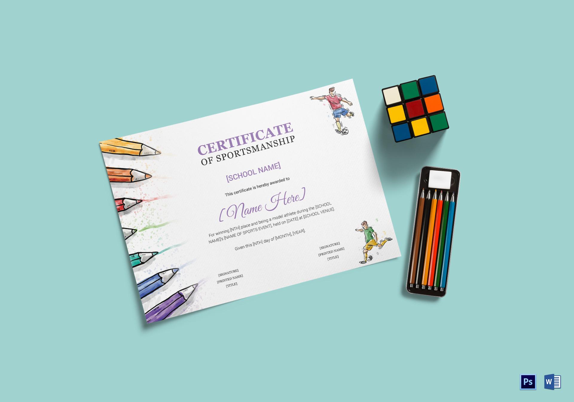 kids sports award certificate design template in psd word