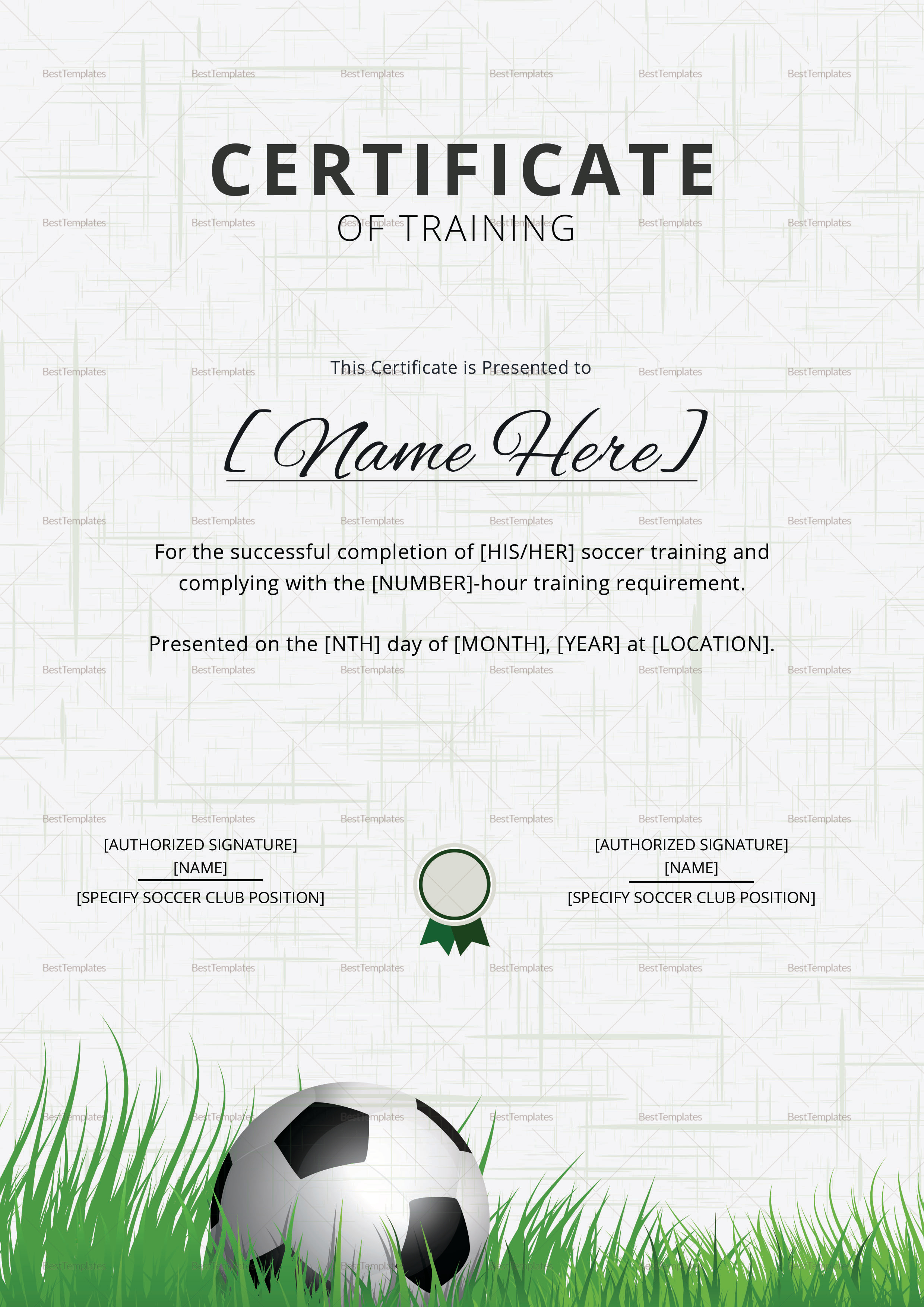 Soccer Training Certificate Design Template