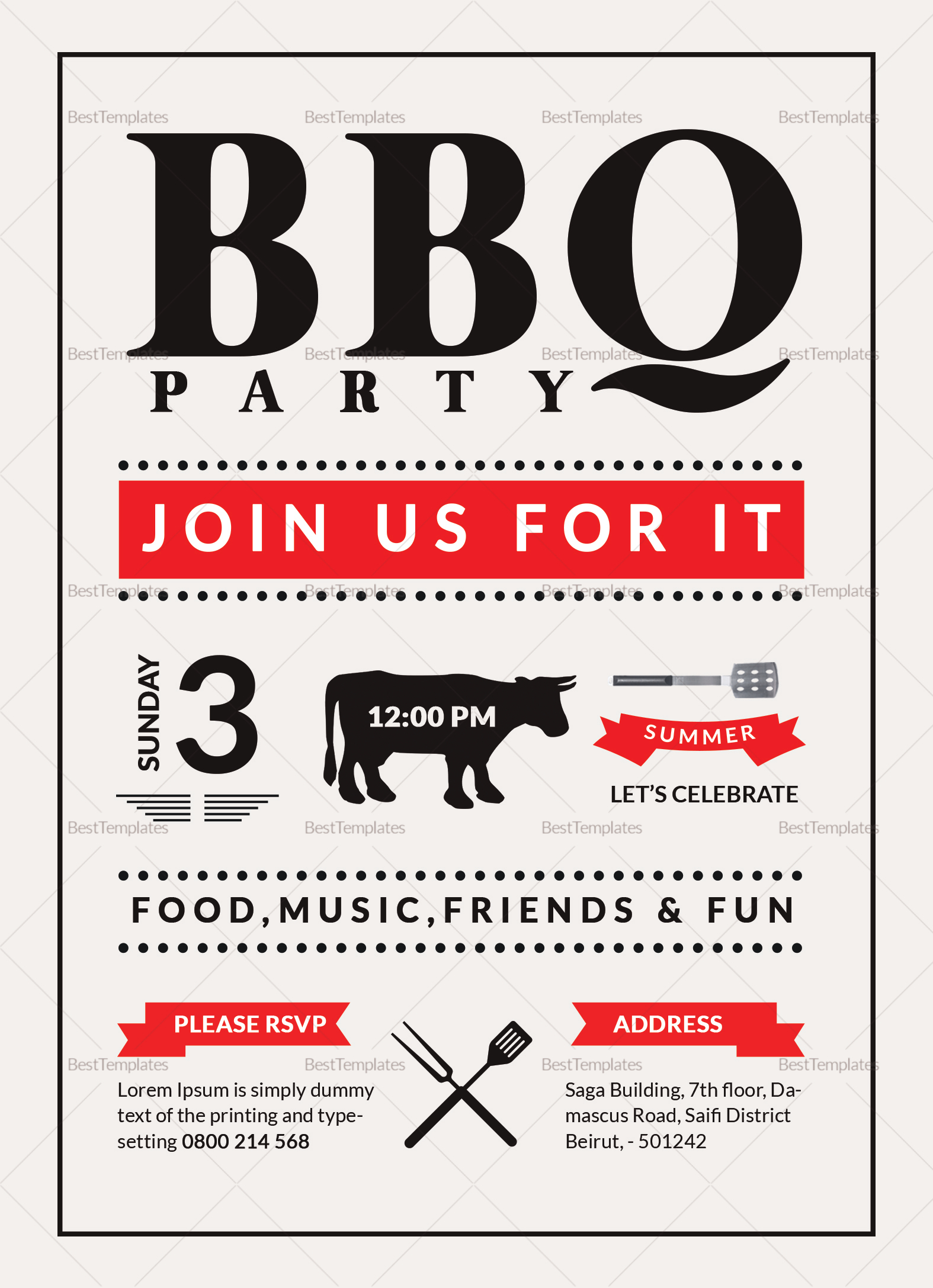 Barbecue Party Invitation Design Template