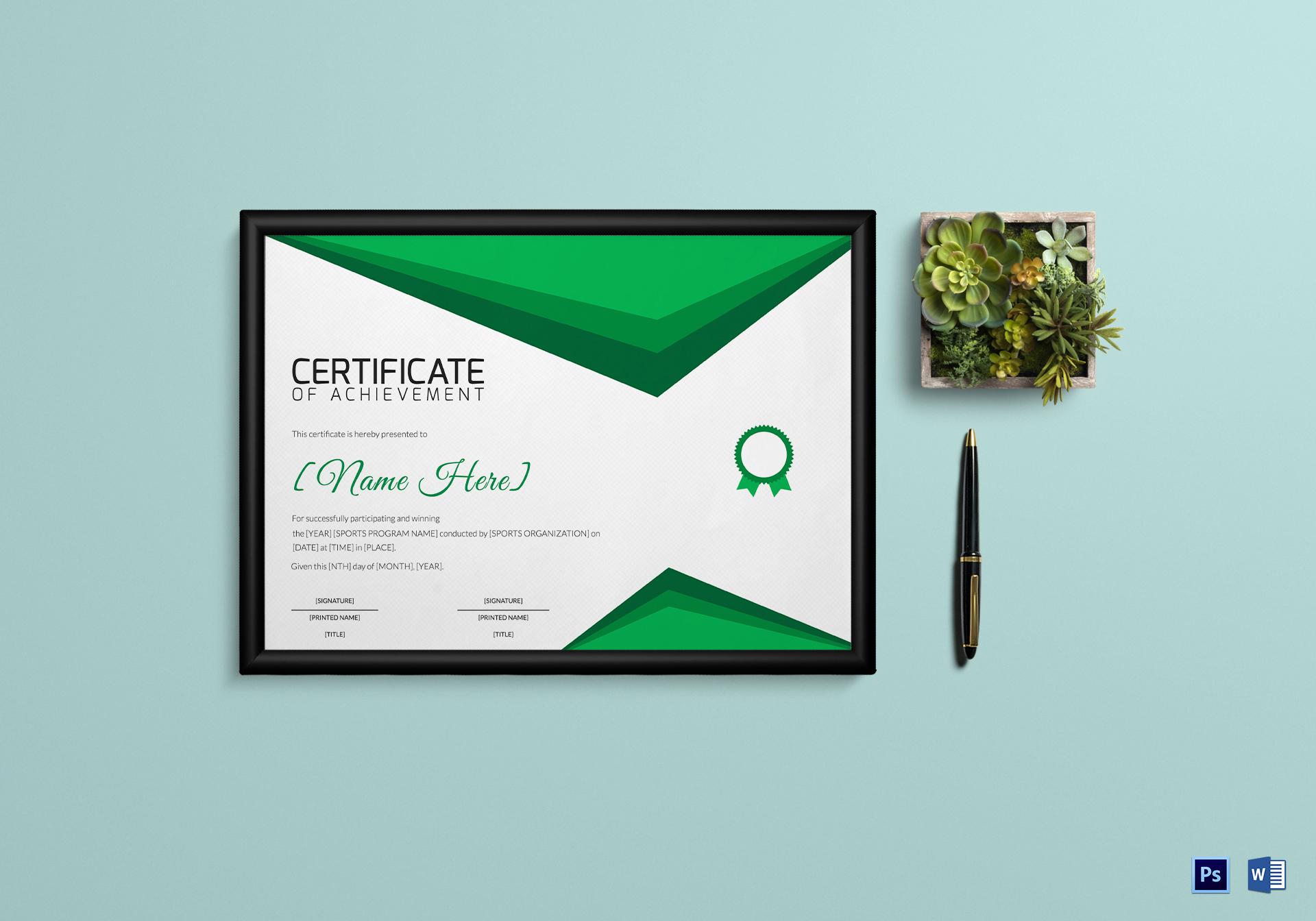 Sports Achievement Certificate Template