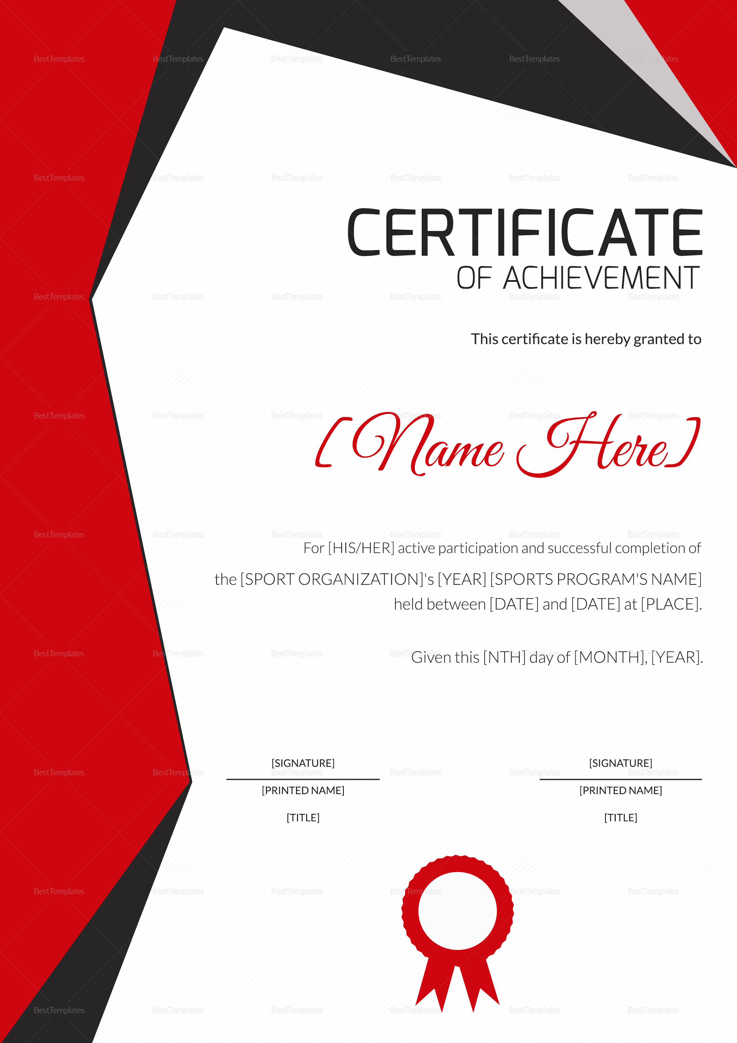 Sports Achievement Award Certificate Design  Template