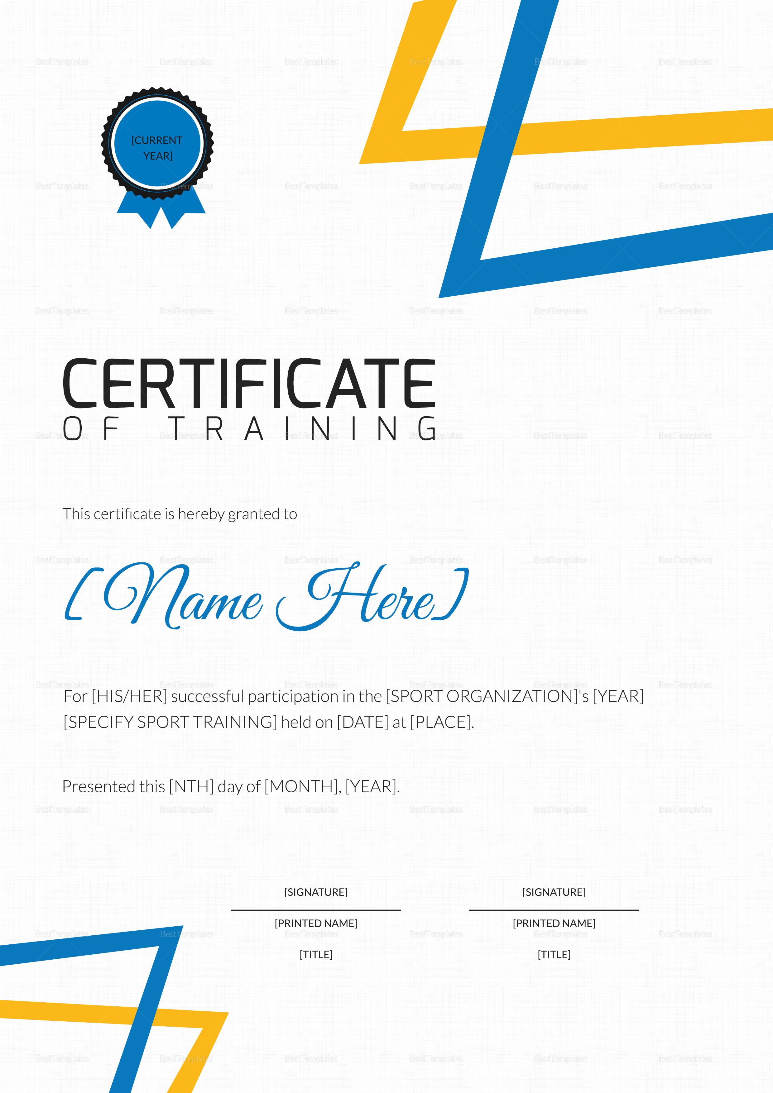 Sports Training Participation Certificate Template