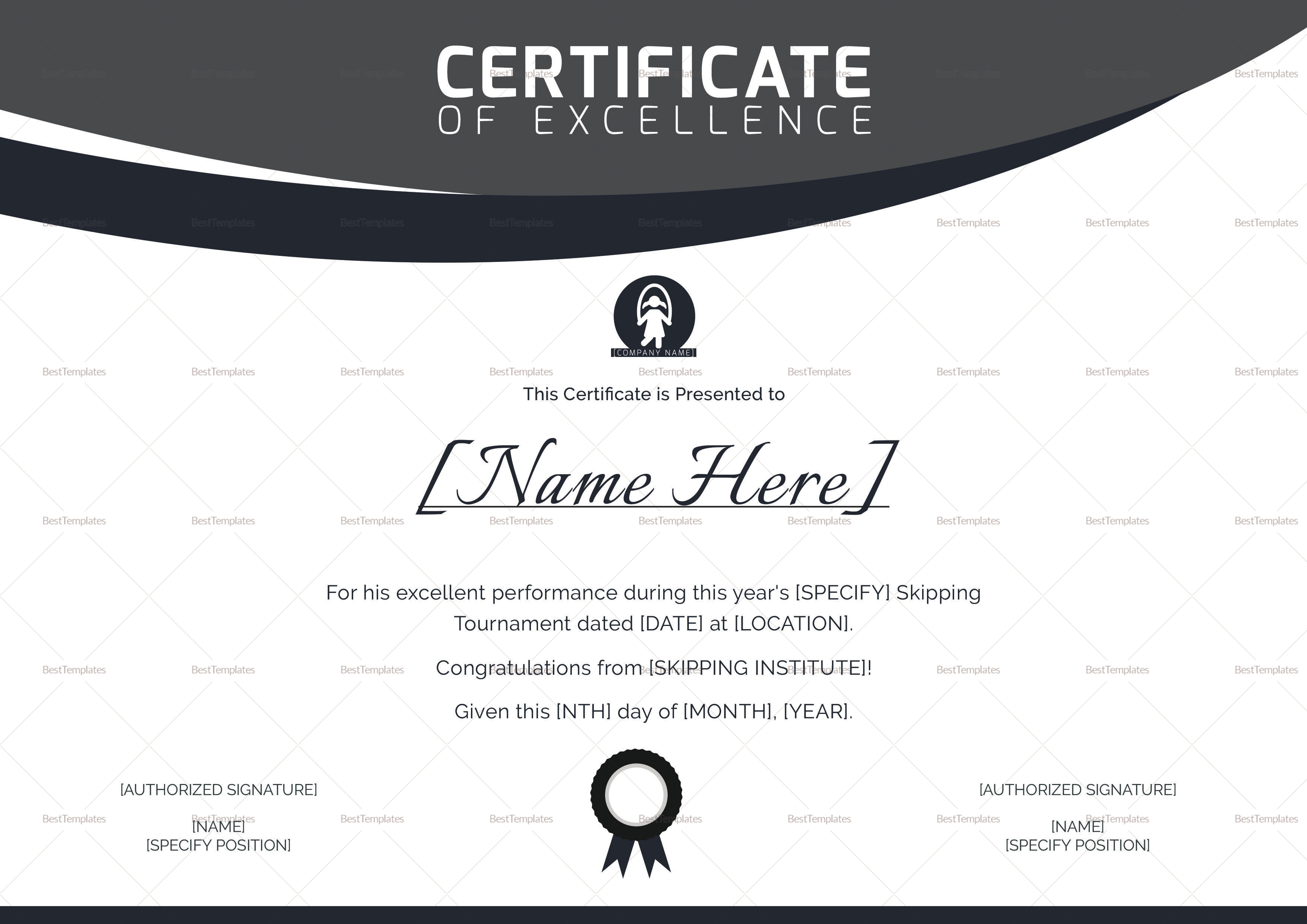 Skipping Excellence Certificate Design Template
